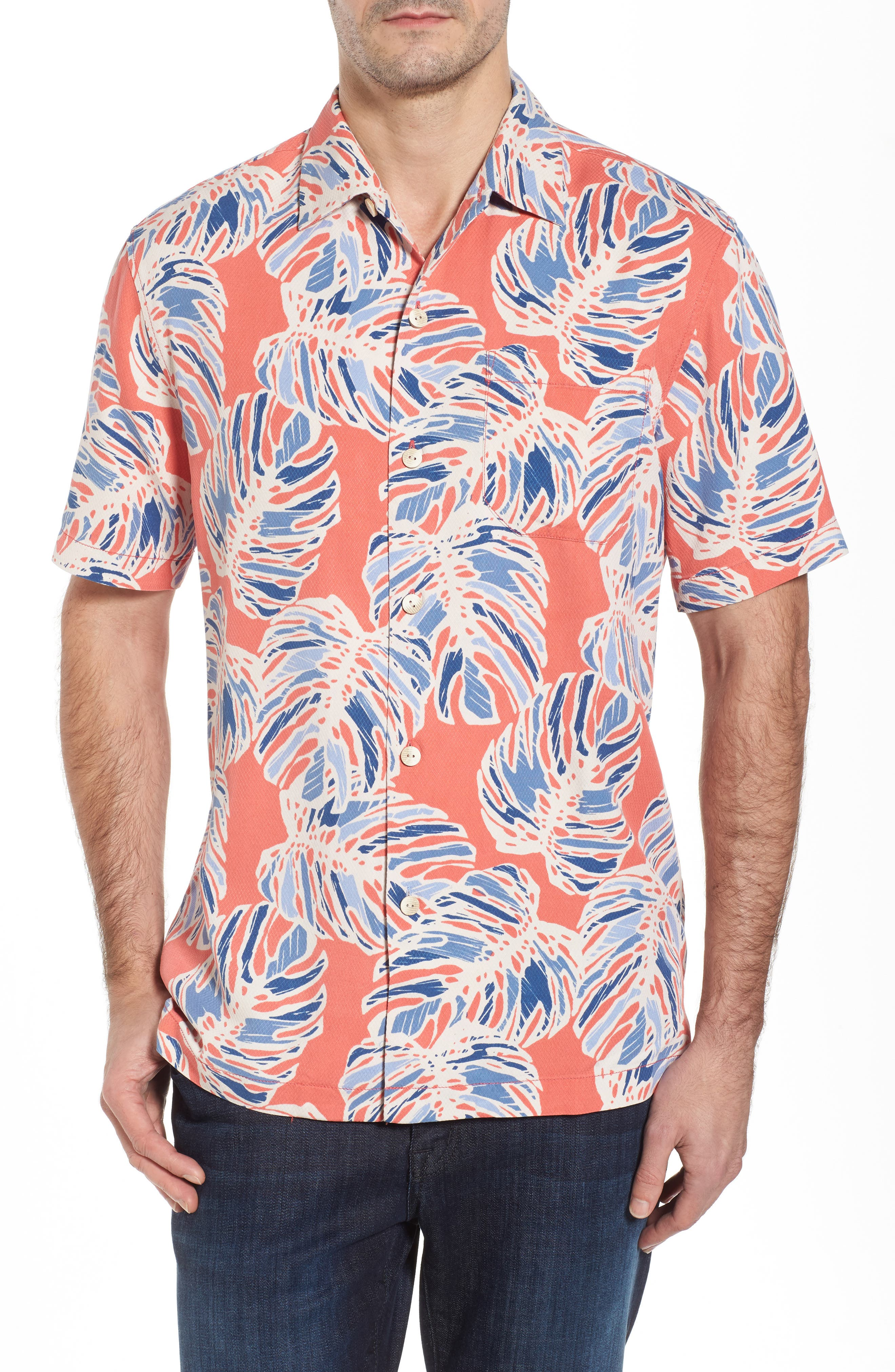 Leaf It to Chance Silk Camp Shirt,                             Main thumbnail 1, color,