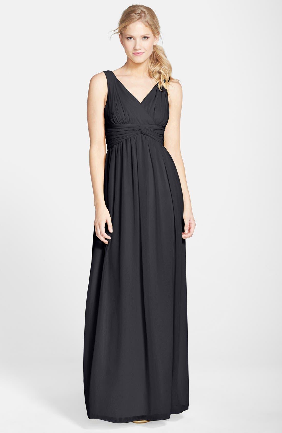 DONNA MORGAN 'Julie' Twist-Waist Silk Chiffon Gown, Main, color, 001