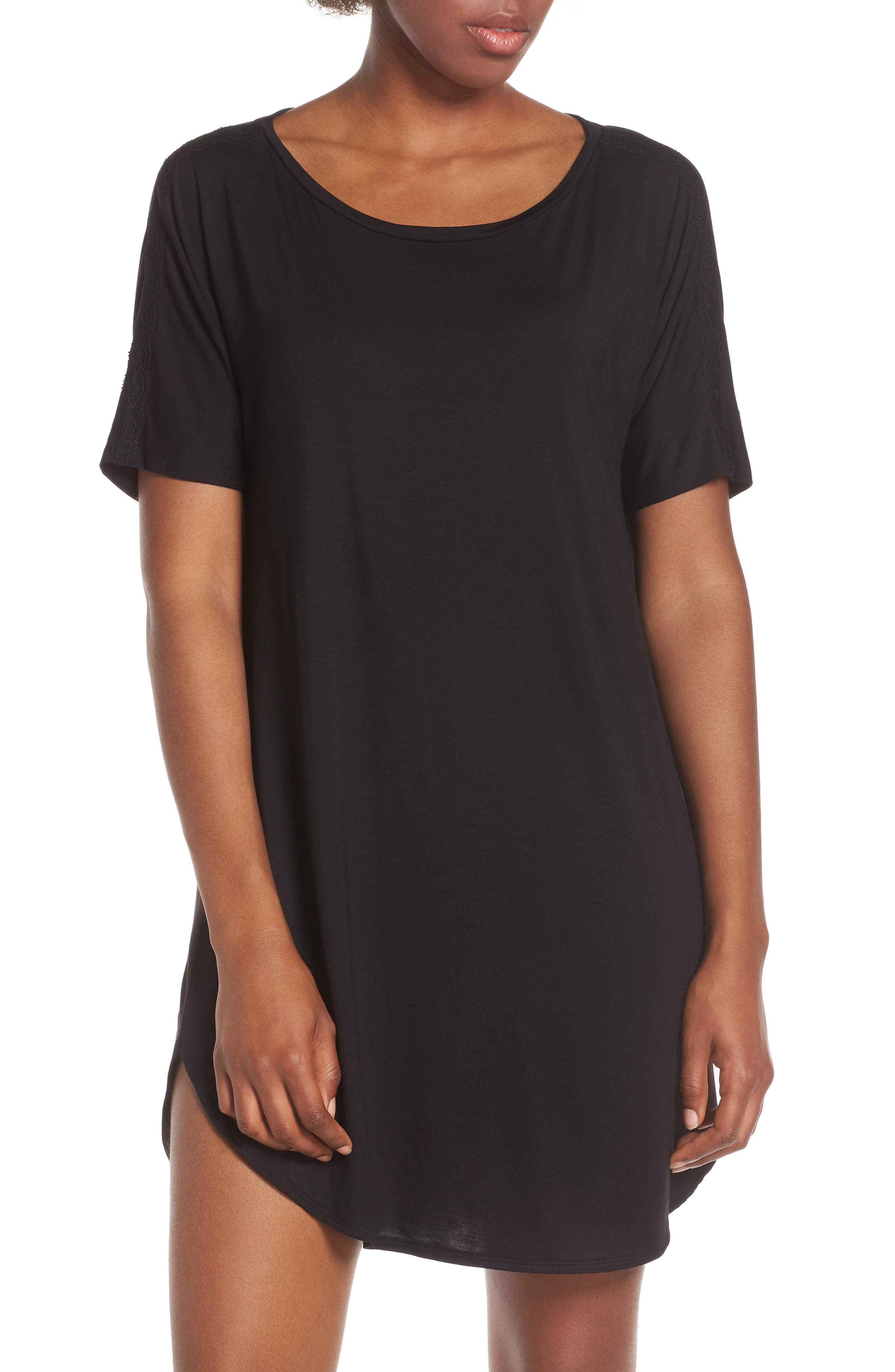 NATORI,                             Feathers Essential Sleep Shirt,                             Main thumbnail 1, color,                             BLACK
