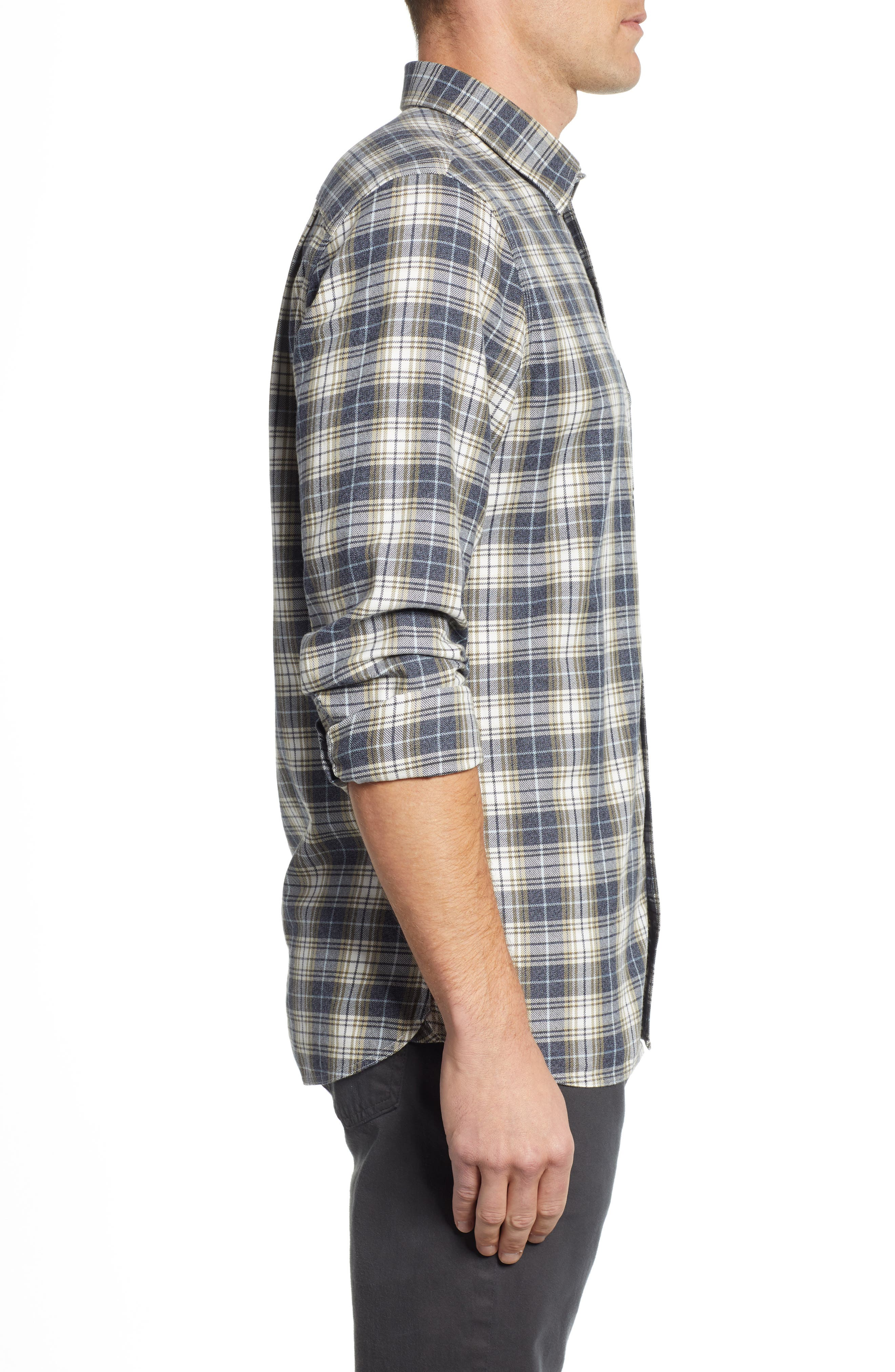Trucker Regular Fit Plaid Flannel Shirt,                             Alternate thumbnail 3, color,                             IVORY EGRET TWILL PLAID