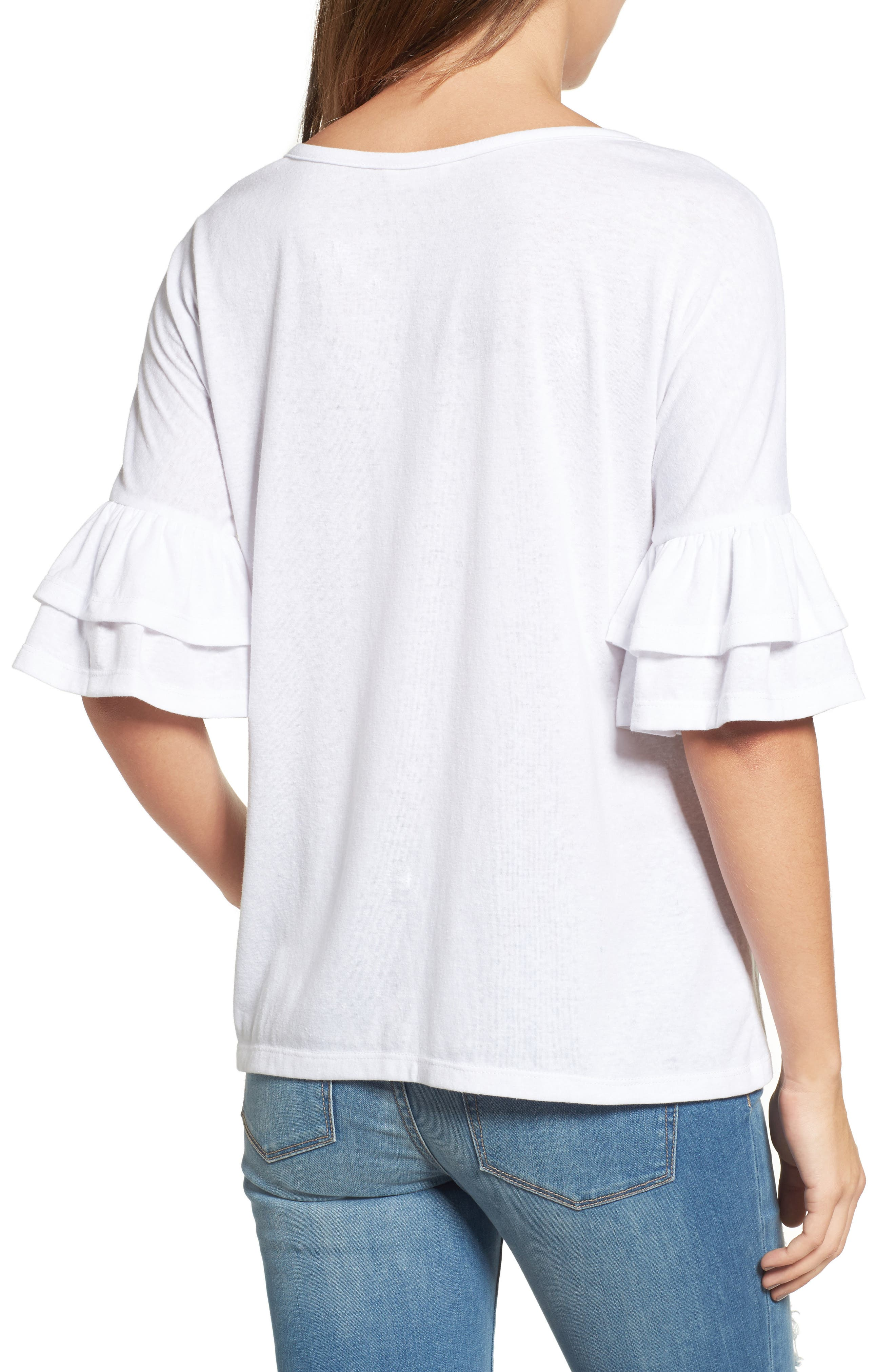Tiered Bell Sleeve Tee,                             Alternate thumbnail 12, color,