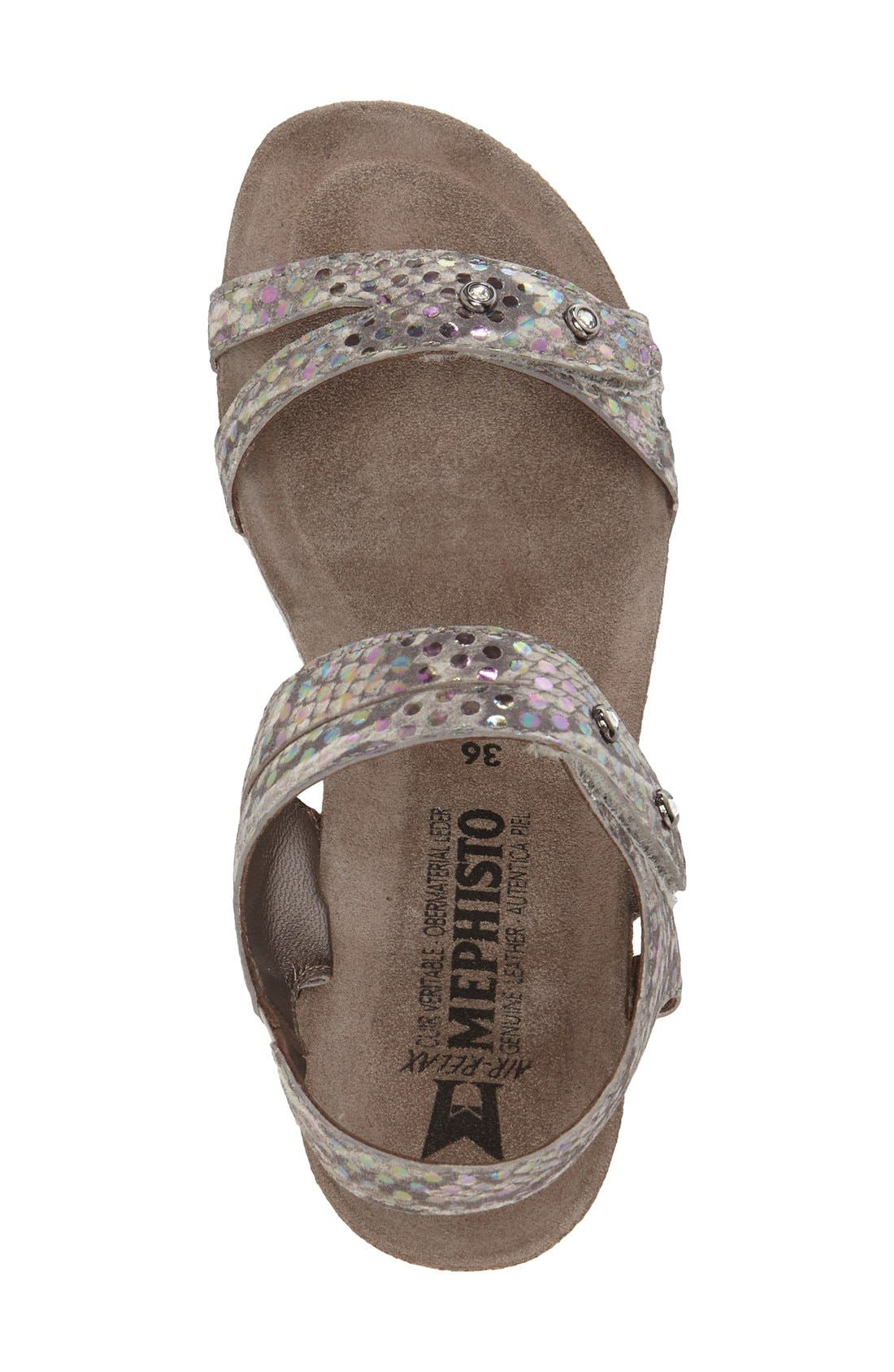 MEPHISTO,                             'Minoa' Wedge Sandal,                             Alternate thumbnail 3, color,                             LIGHT GREY MIMOSA