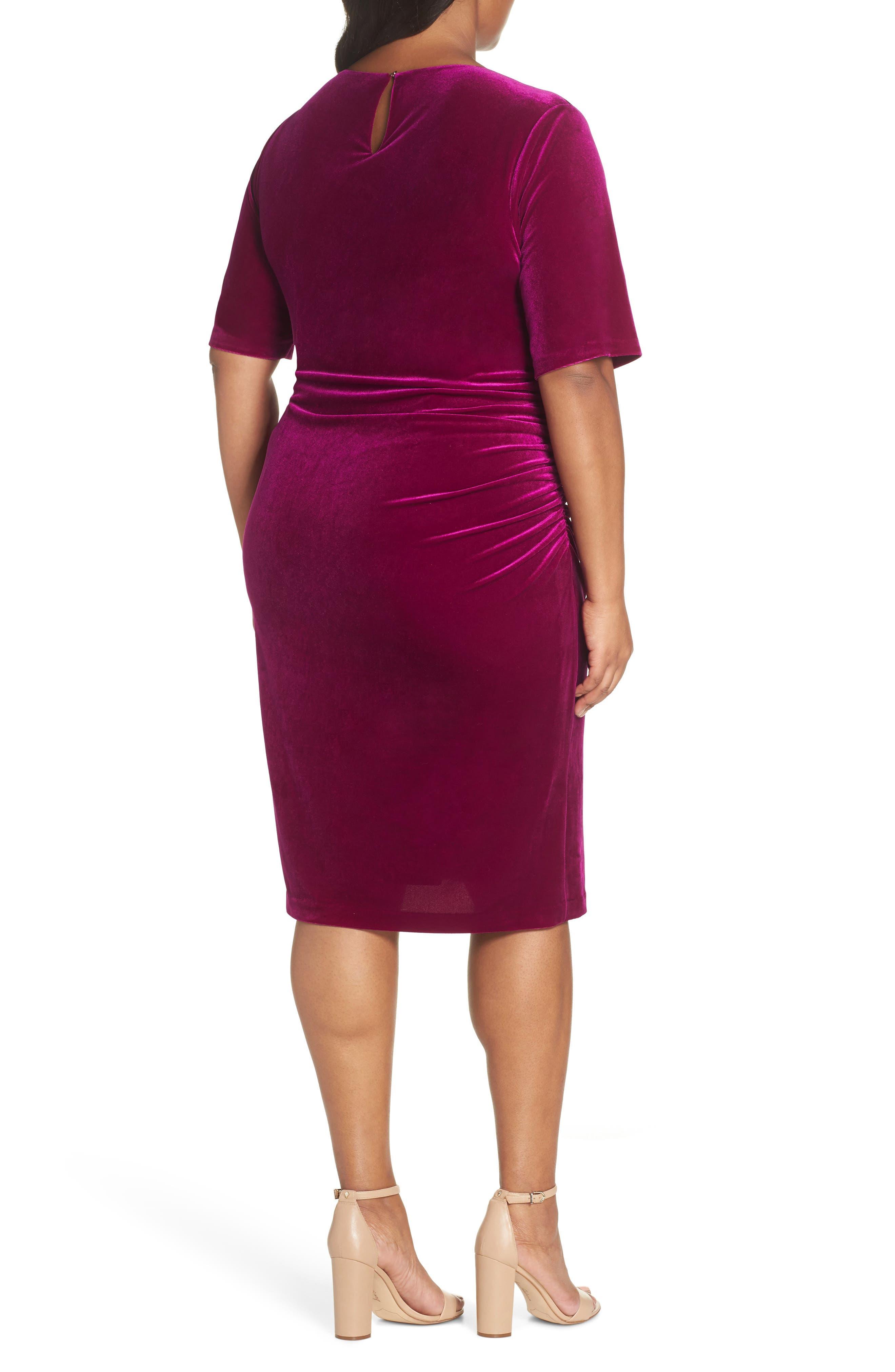 Velvet Side Ruche Body-Con Dress,                             Alternate thumbnail 2, color,                             FUSCHIA