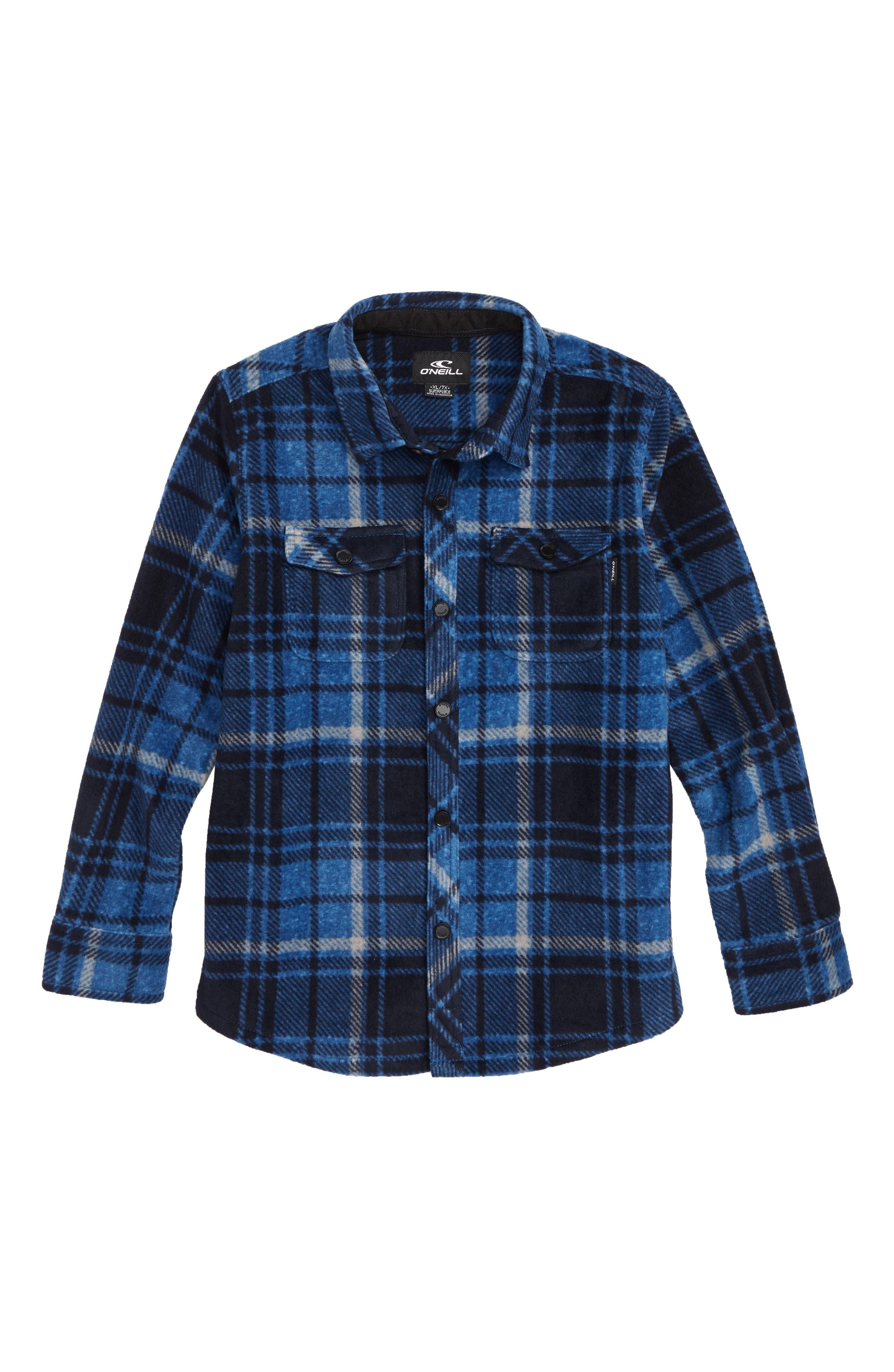 Glacier Plaid Super Fleece Shirt,                         Main,                         color, DARK BLUE
