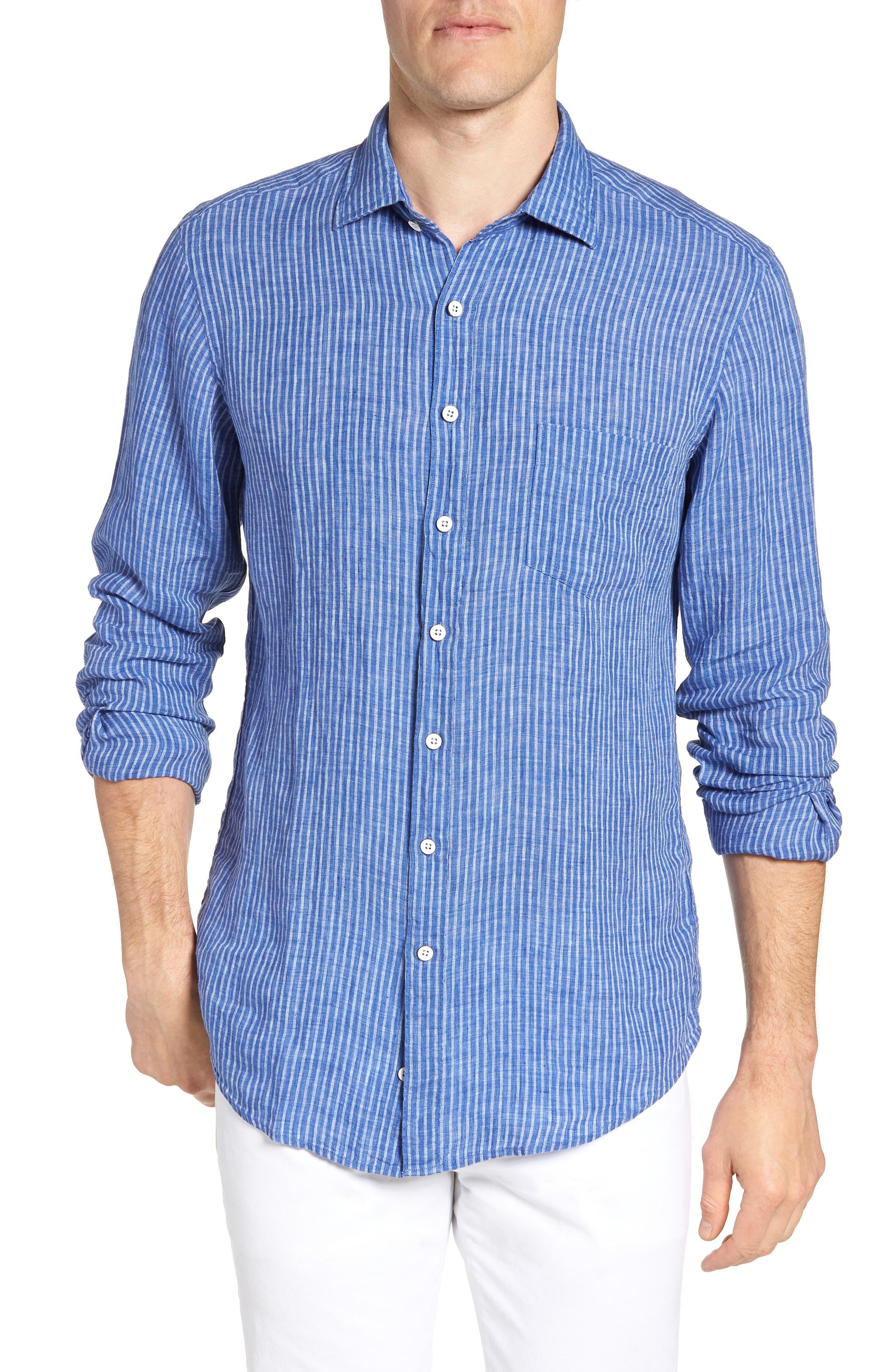 Warwick Junction Stripe Linen Sport Shirt,                         Main,                         color, ULTRAMARINE