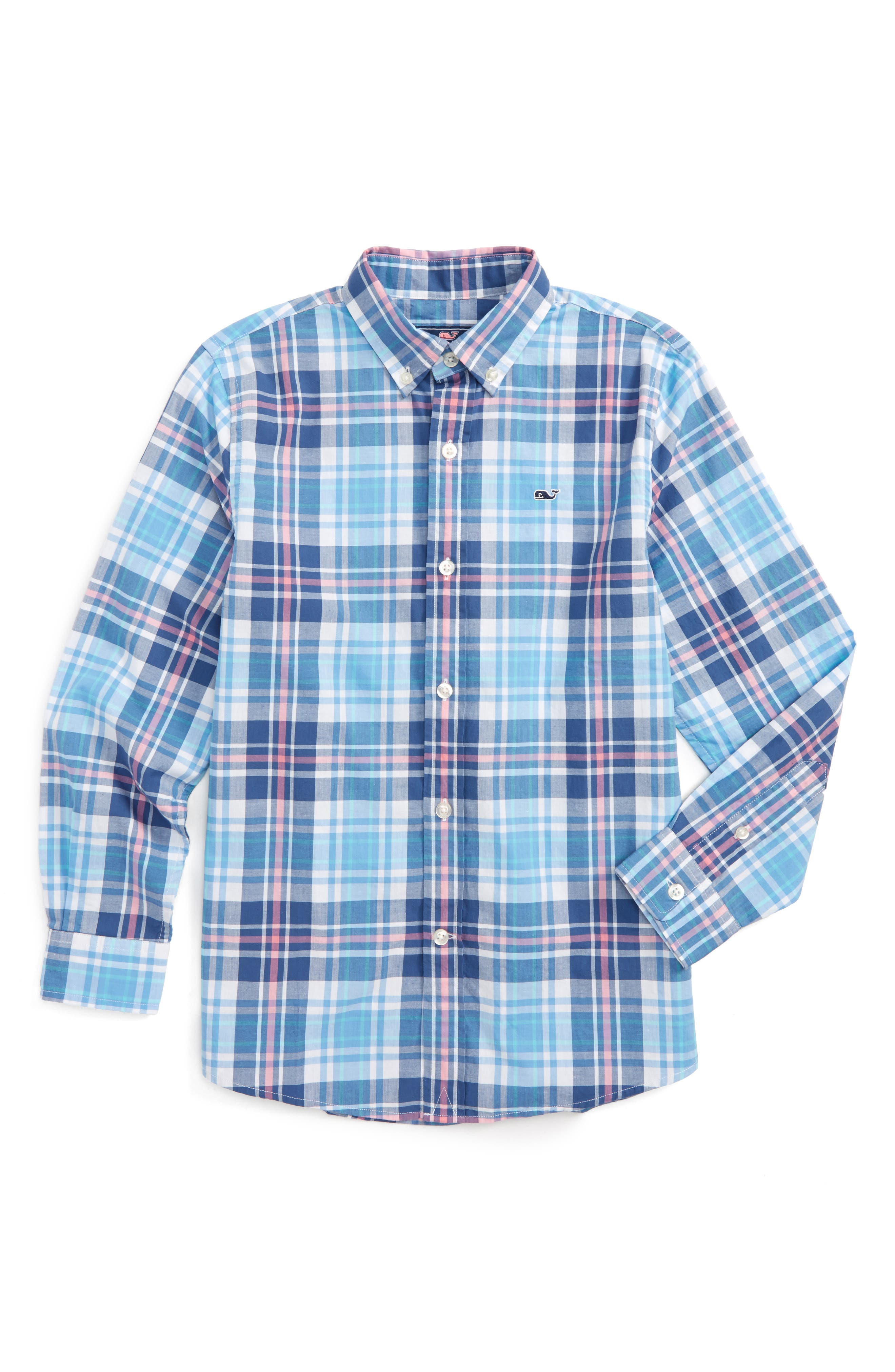 Fort Sumter Plaid Whale Shirt,                             Main thumbnail 1, color,                             406