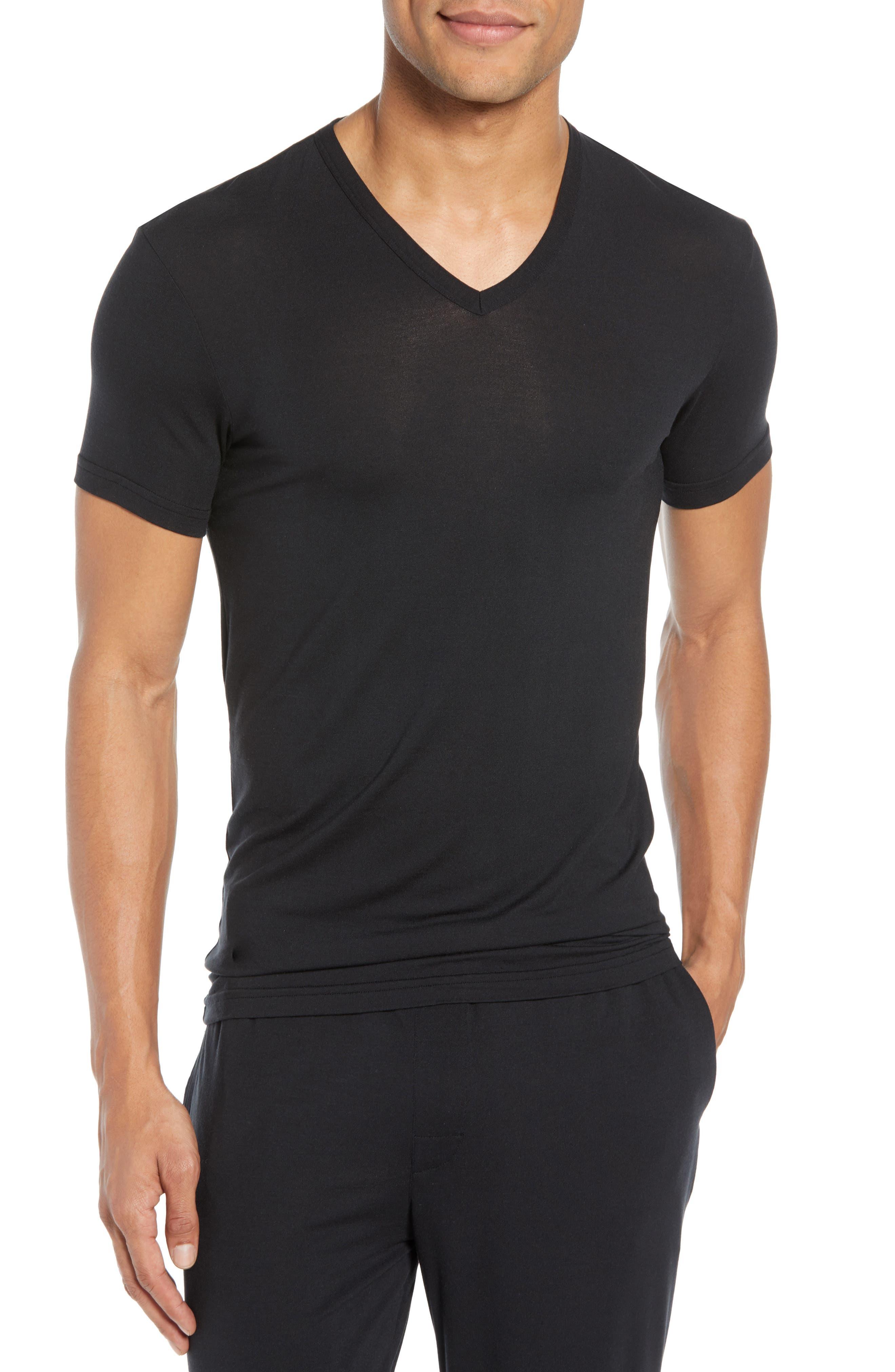 CALVIN KLEIN,                             Ultrasoft Stretch Modal V-Neck T-Shirt,                             Main thumbnail 1, color,                             BLACK