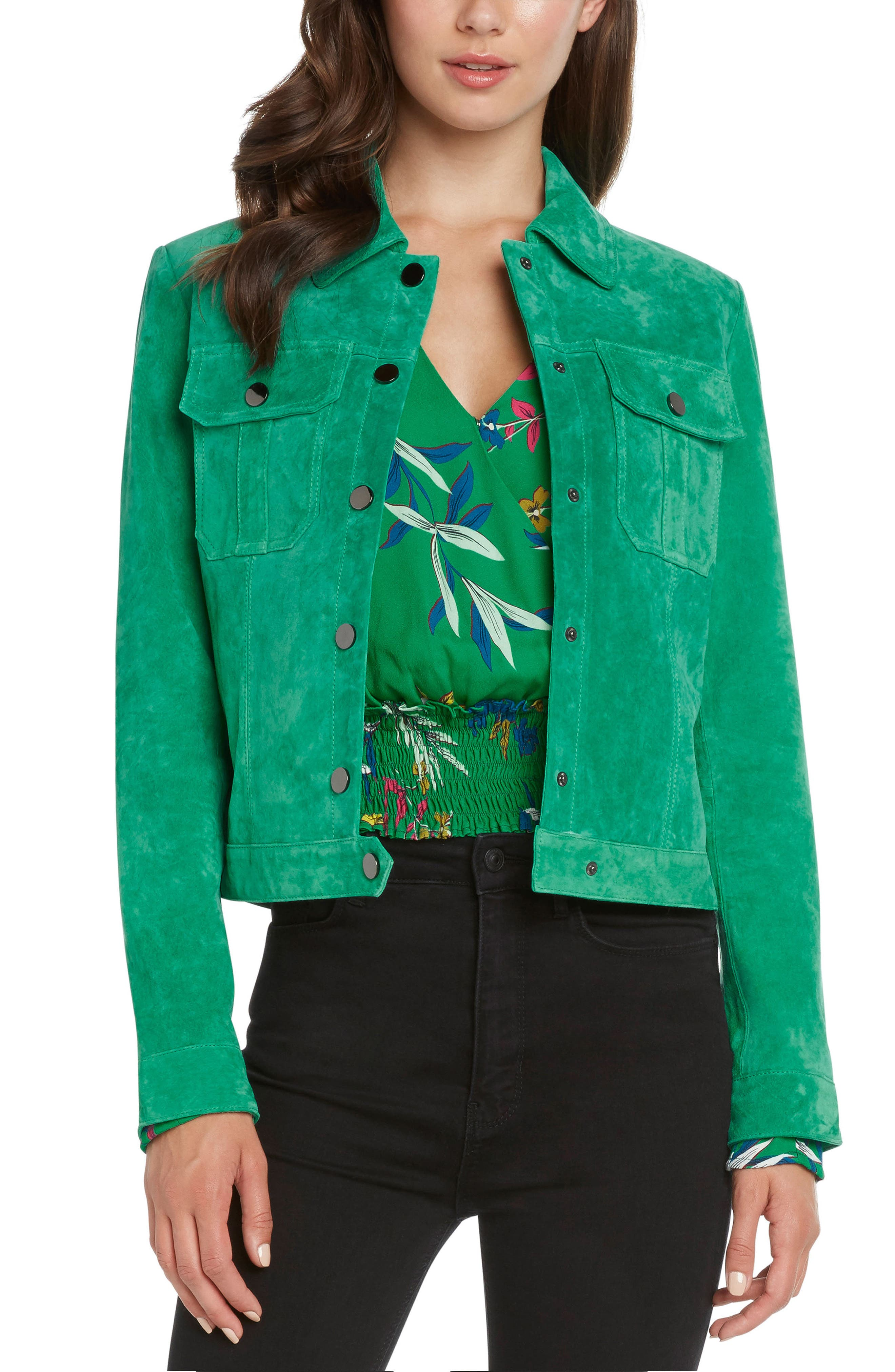 WILLOW & CLAY Suede Crop Jacket in Kelly Green