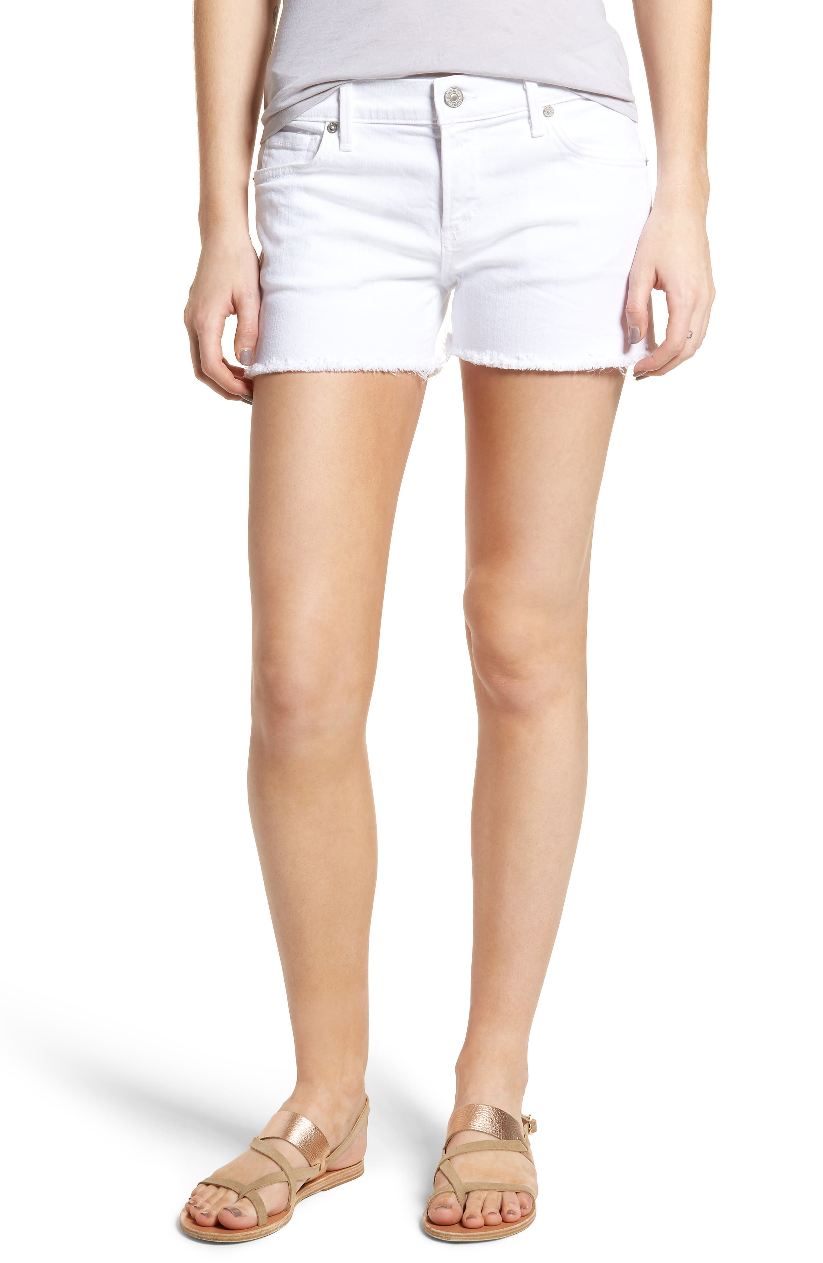 Ava Cutoff Denim Shorts,                         Main,                         color, 104