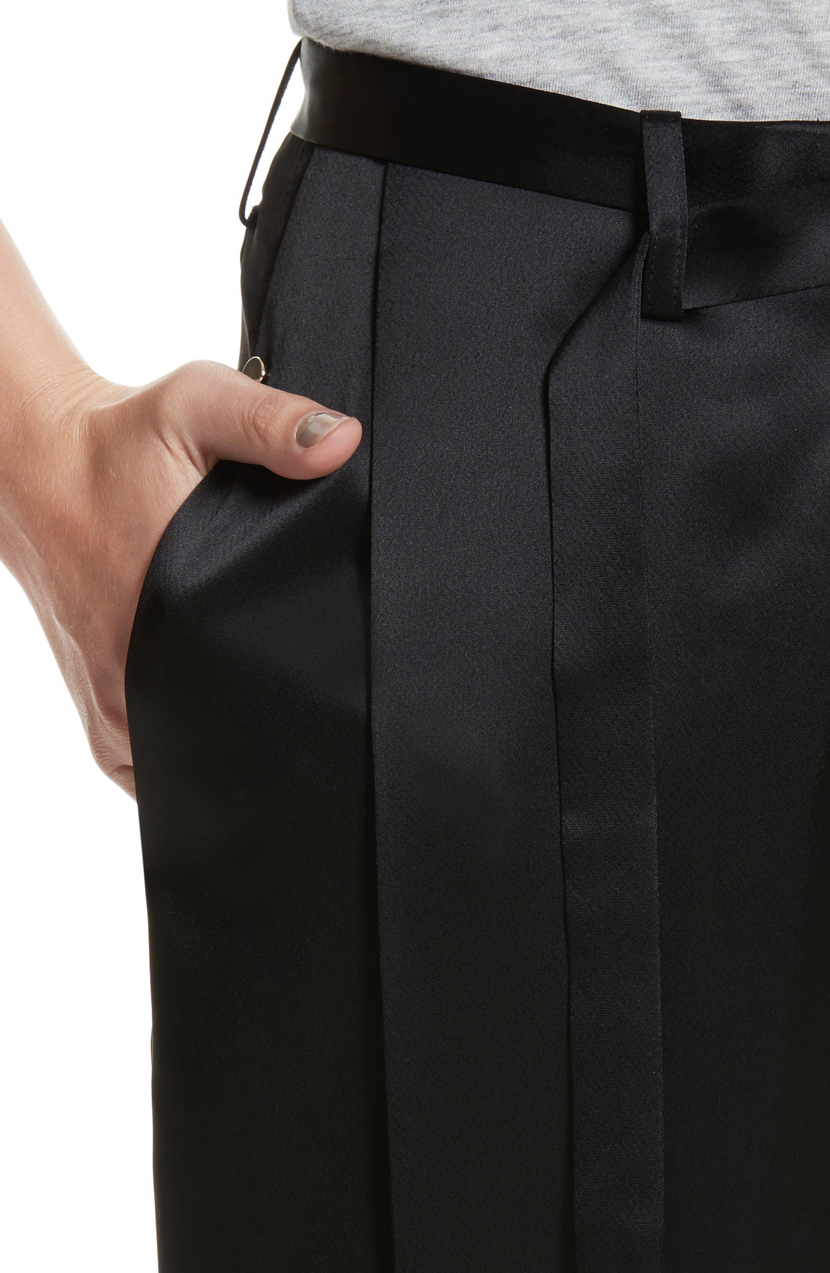Nassau Reverie Satin Cloth Pants,                             Alternate thumbnail 4, color,                             001