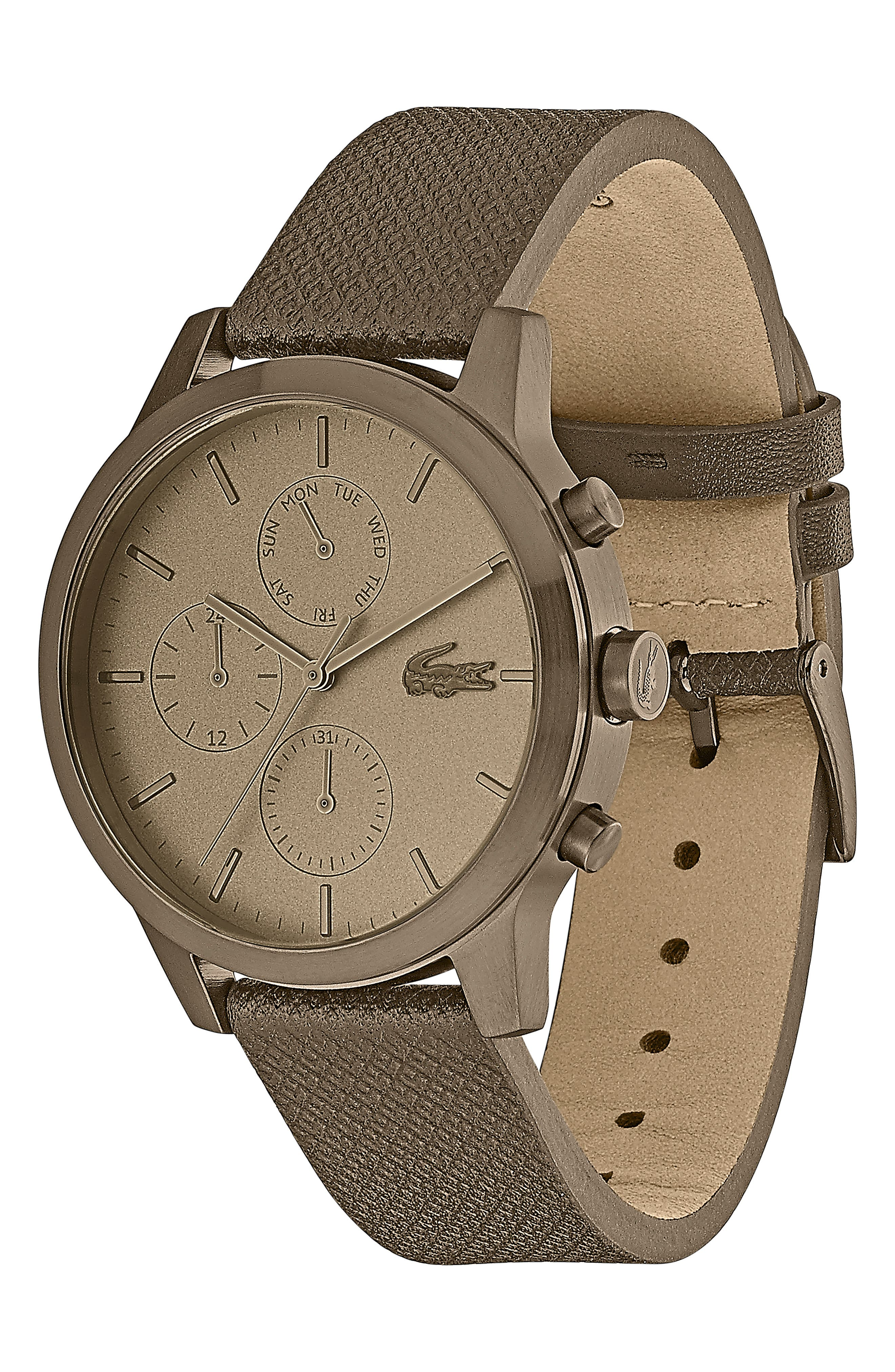 12.12 Premium Chronograph Leather Strap Watch, 42mm,                             Alternate thumbnail 3, color,                             OLIVE