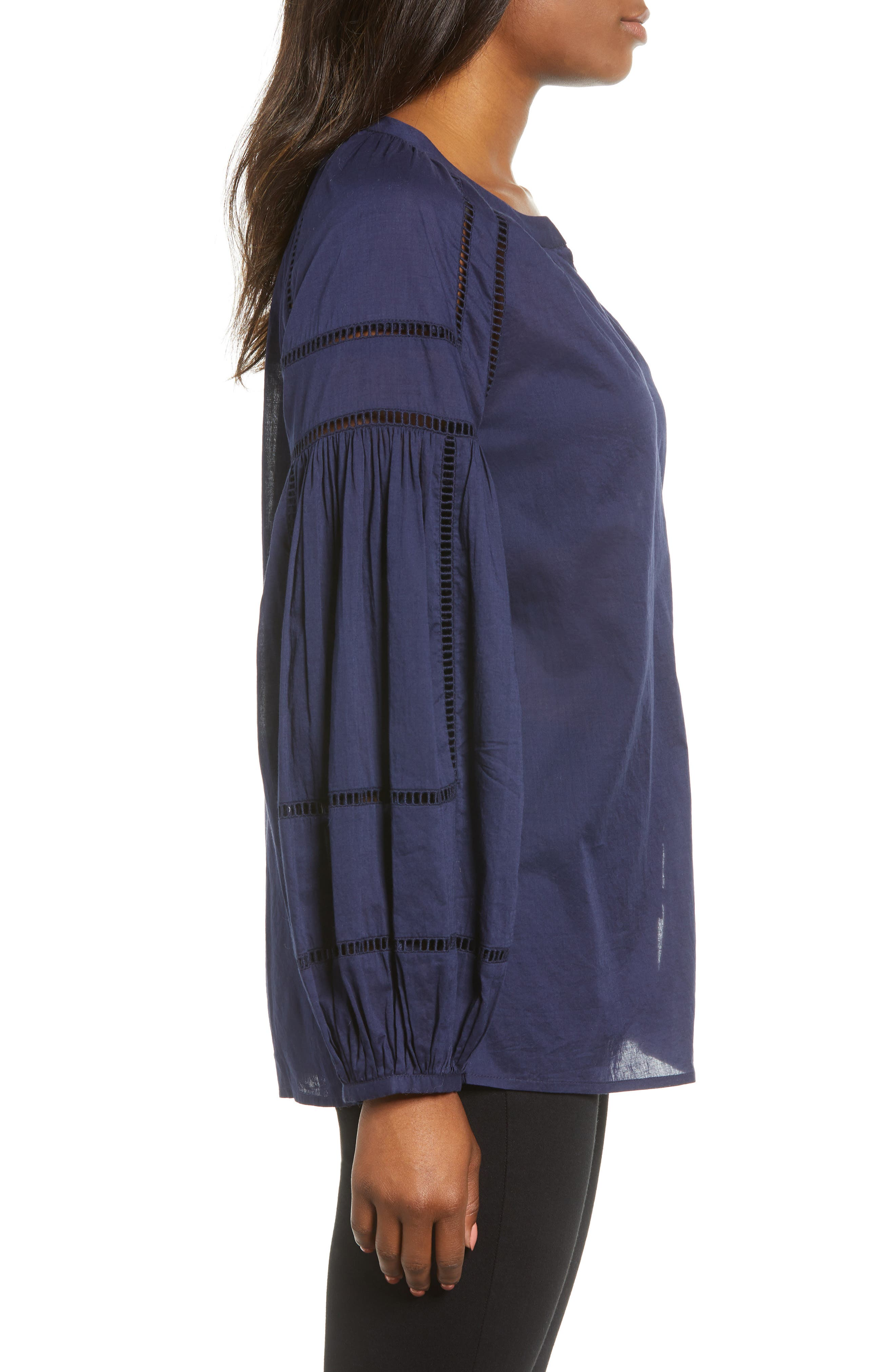 Embroidered Peasant Sleeve Top,                             Alternate thumbnail 3, color,                             NAVY PEACOAT