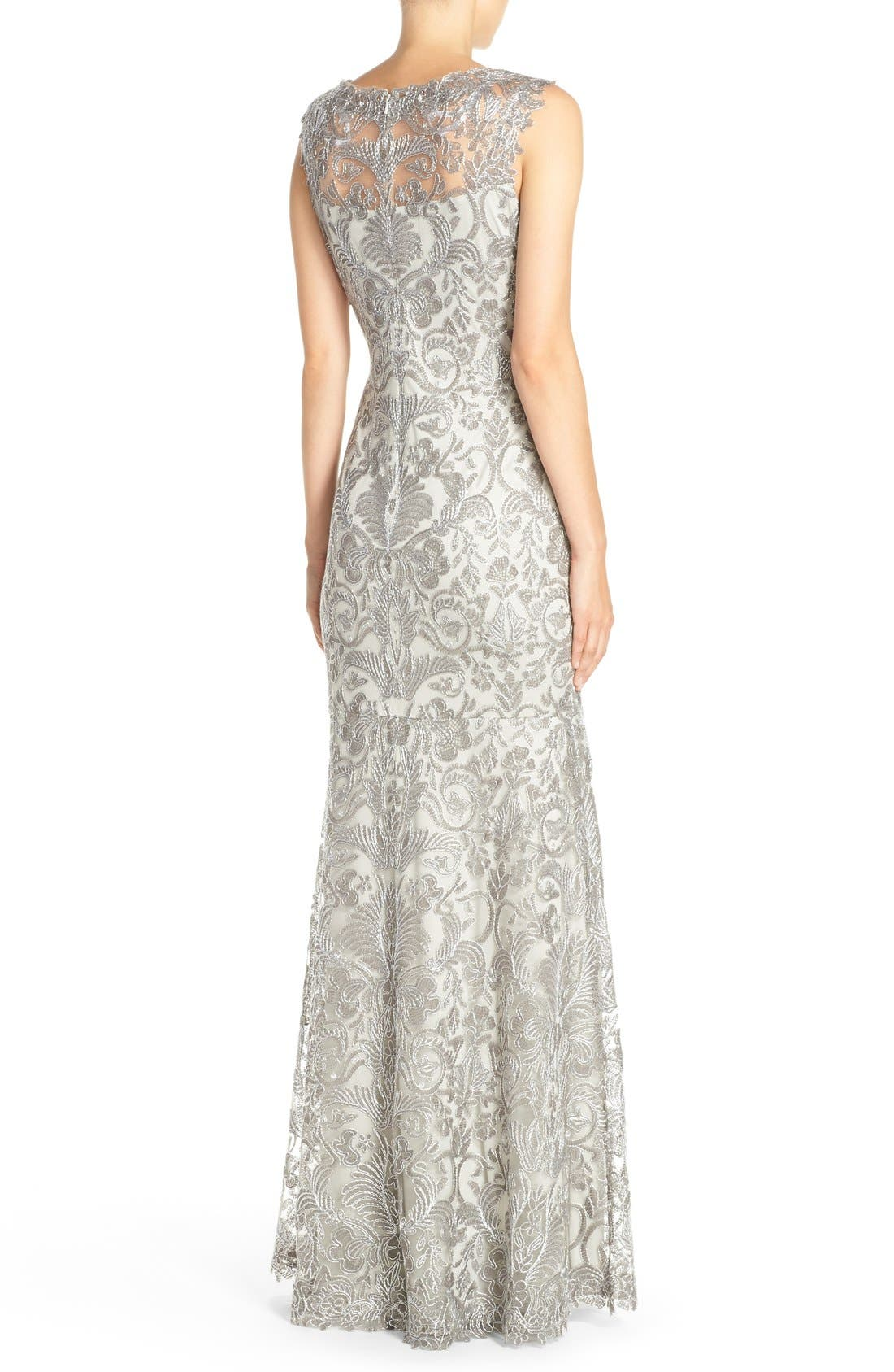 Kelly Embroidered Mermaid Gown,                             Alternate thumbnail 8, color,