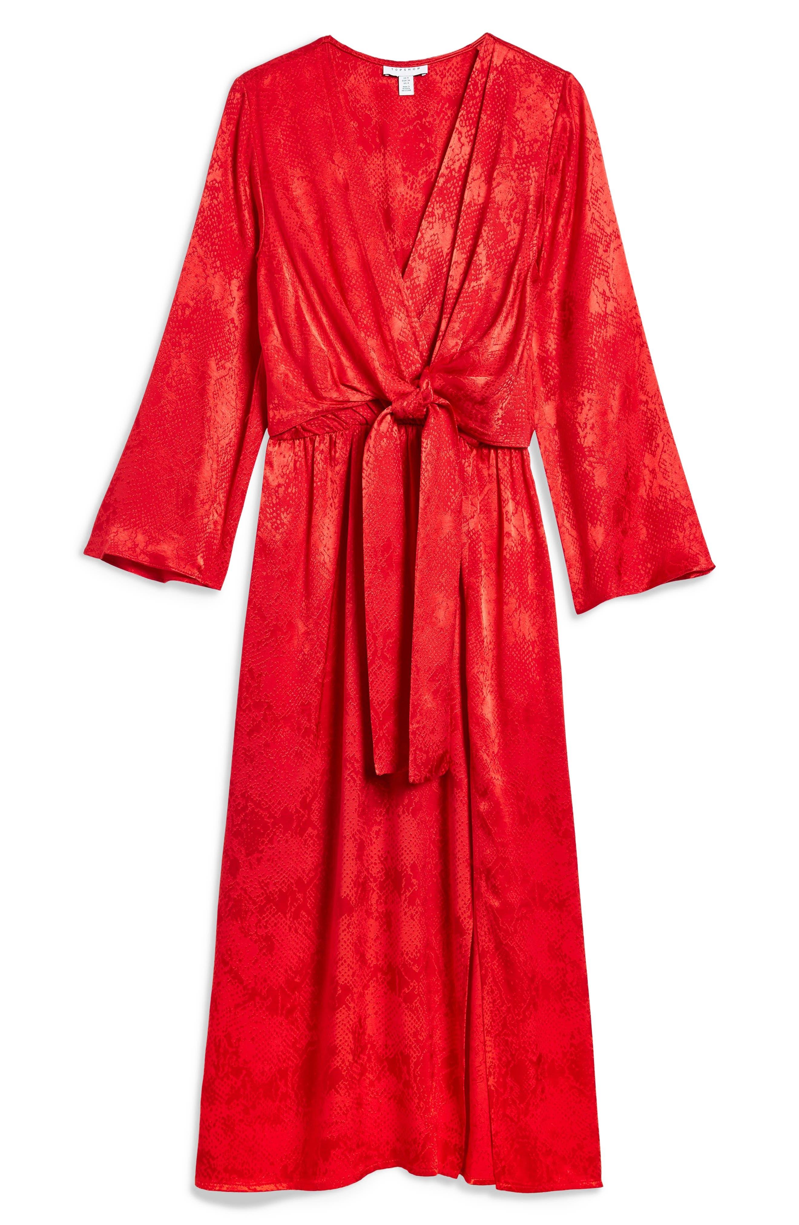 Snake Effect Knot Midi Dress,                             Alternate thumbnail 3, color,                             RED