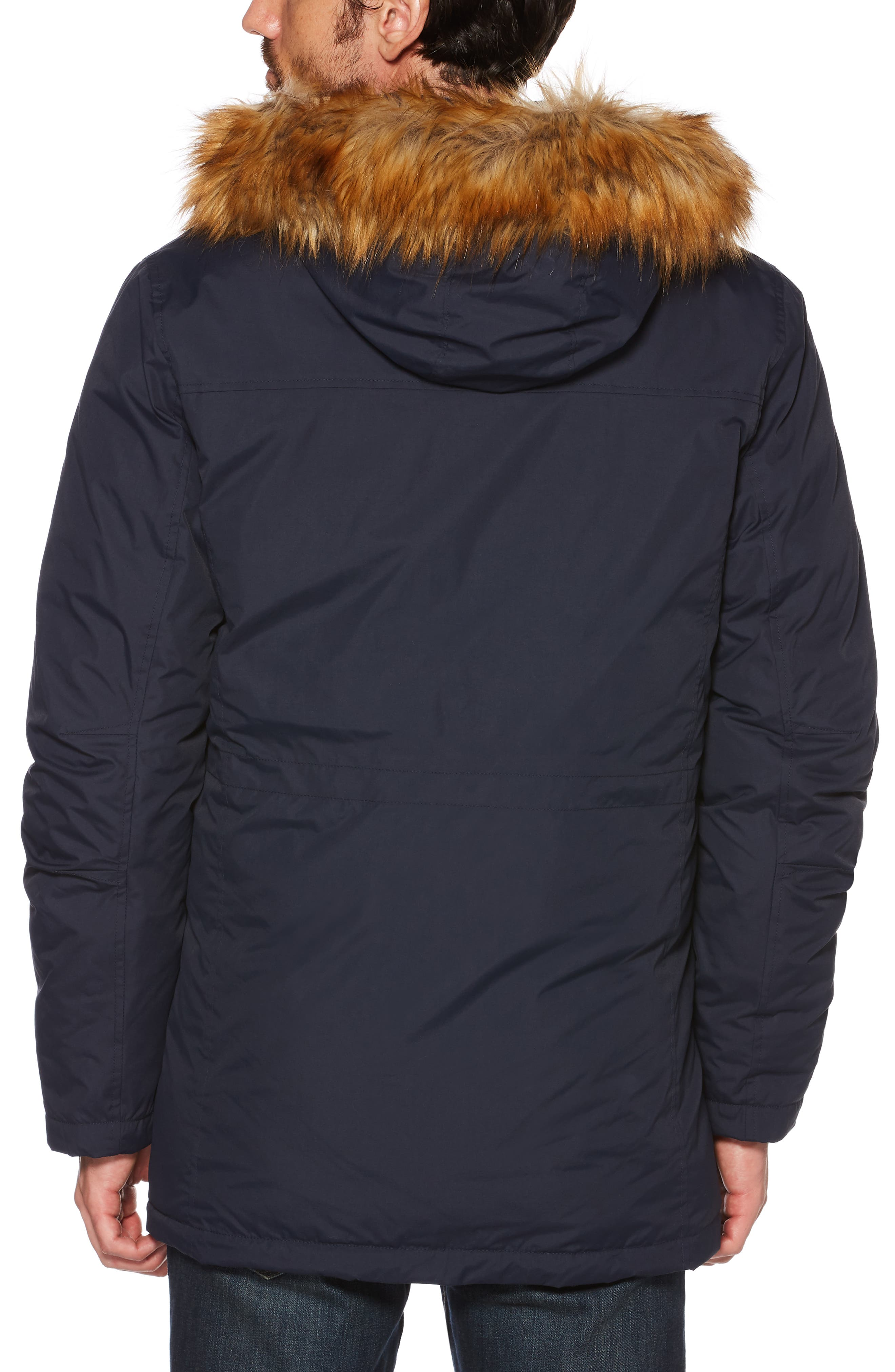 Insulated Parka with Faux Fur Trim,                             Alternate thumbnail 2, color,                             DARK SAPPHIRE