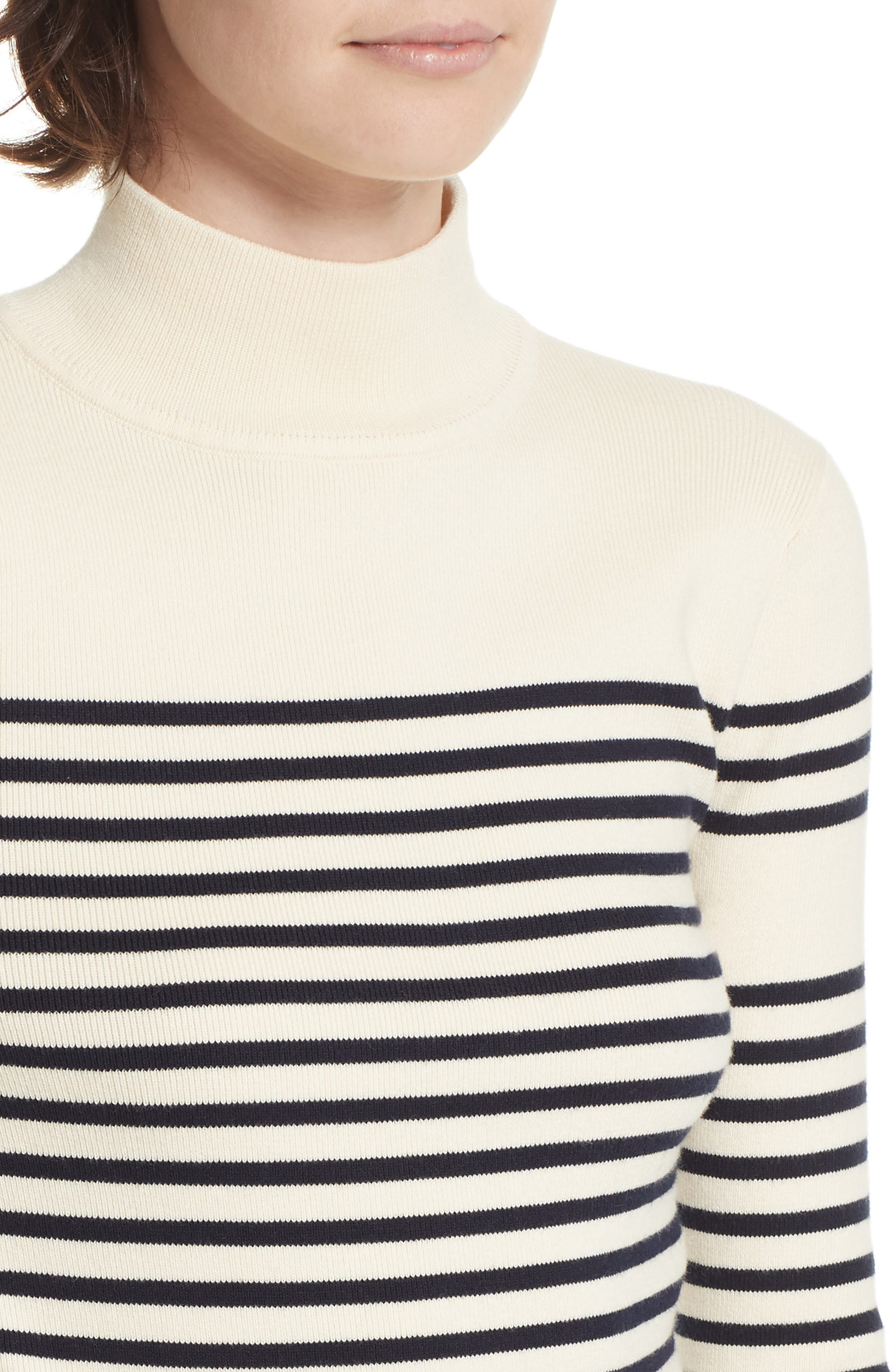 Classique Stripe Sweater,                             Alternate thumbnail 4, color,                             CREAM/ NAVY STRIPES