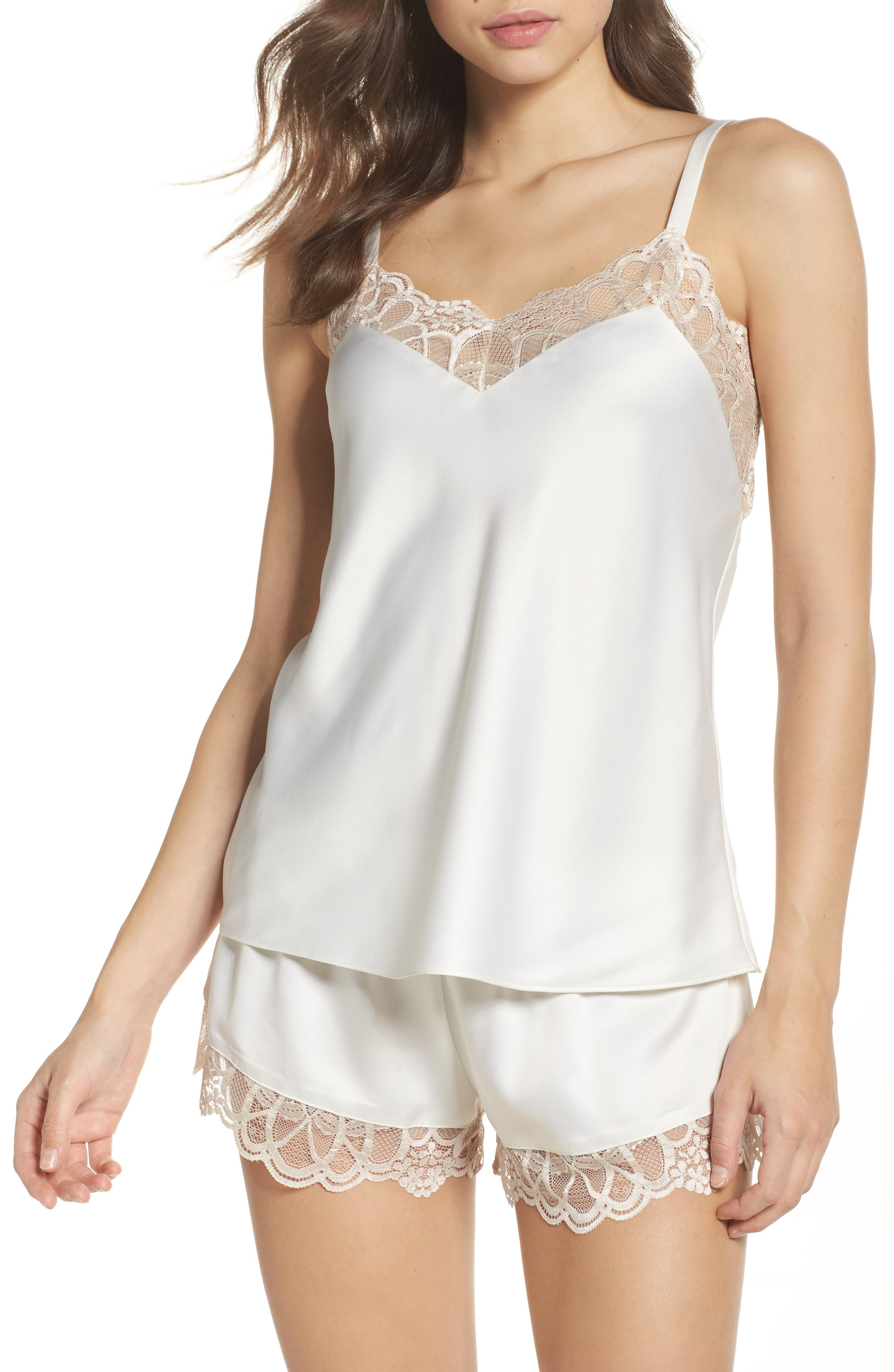 FLORA NIKROOZ Gabby Charmeuse Cami & Tap in White