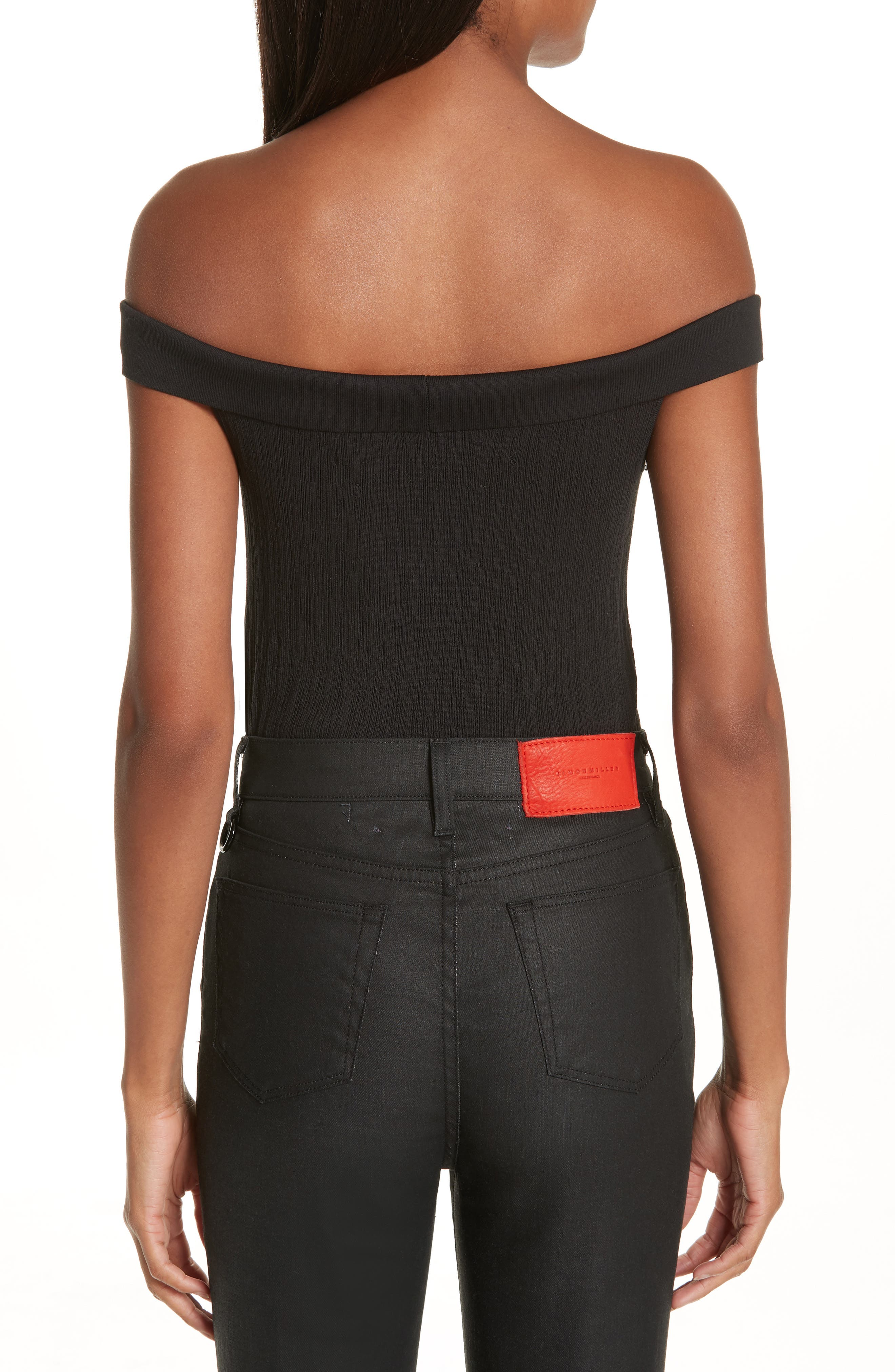 x Paramount Grease Ribbed Off the Shoulder Top,                             Alternate thumbnail 2, color,                             DANNY BLACK