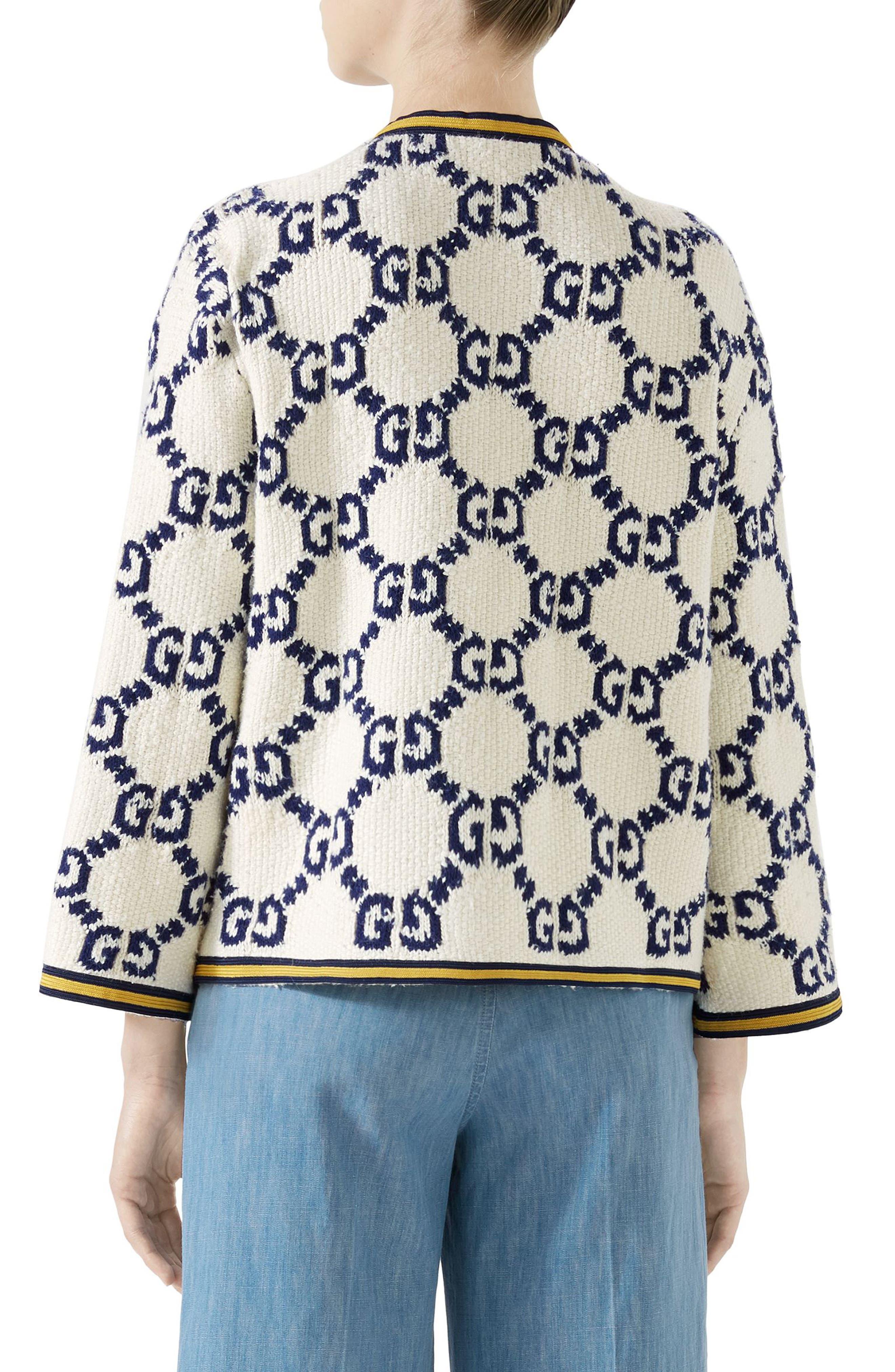 GG Textured Silk, Wool & Linen Tweed Jacket,                             Alternate thumbnail 2, color,                             MULTI
