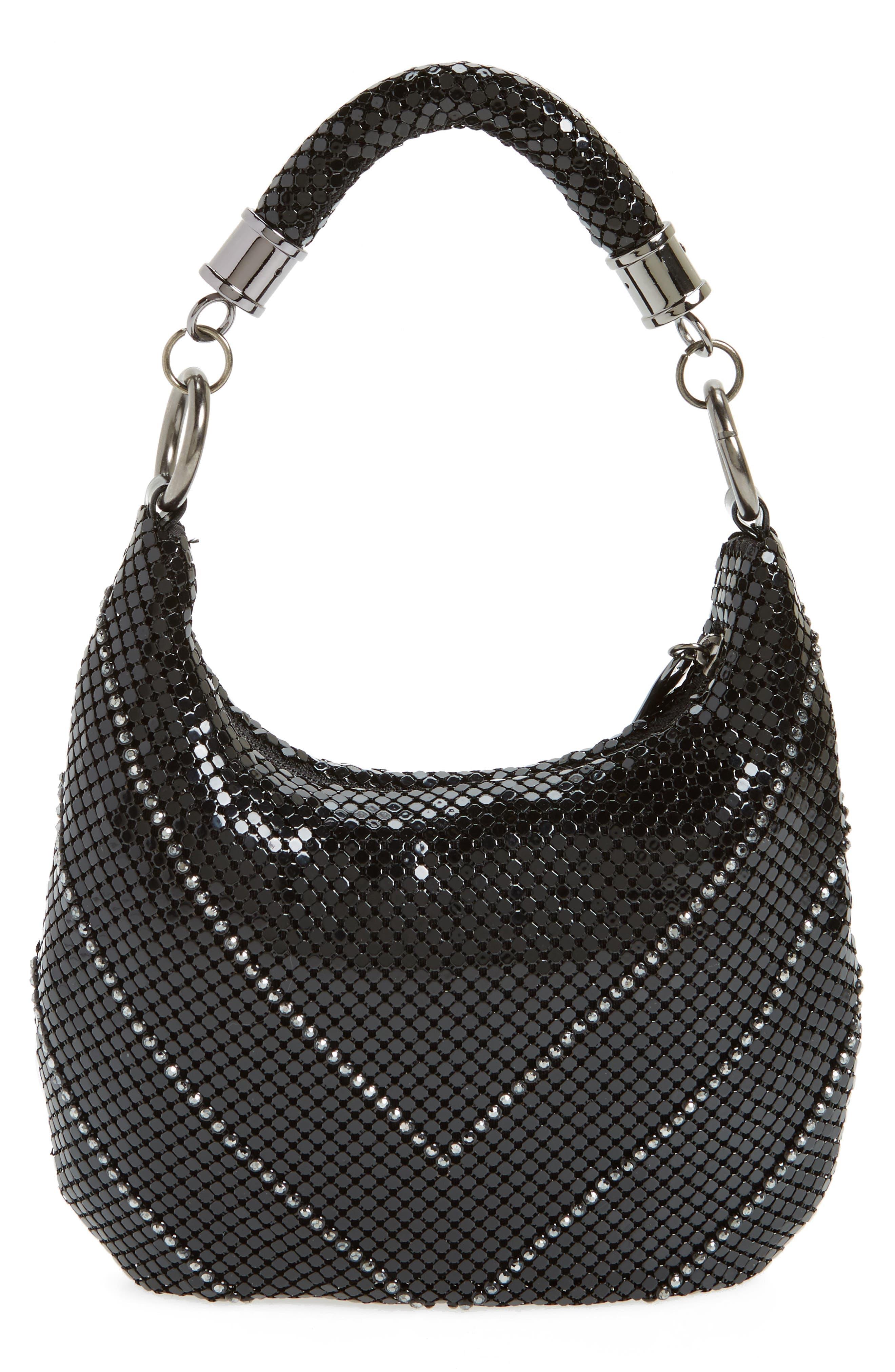 Little Black Mesh Shoulder Bag,                             Alternate thumbnail 3, color,                             BLACK