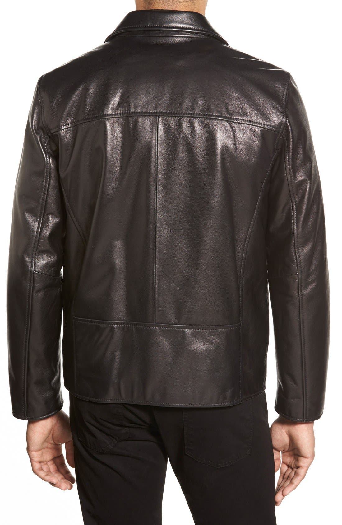 Leather Jacket with Removable Liner,                             Alternate thumbnail 5, color,                             001