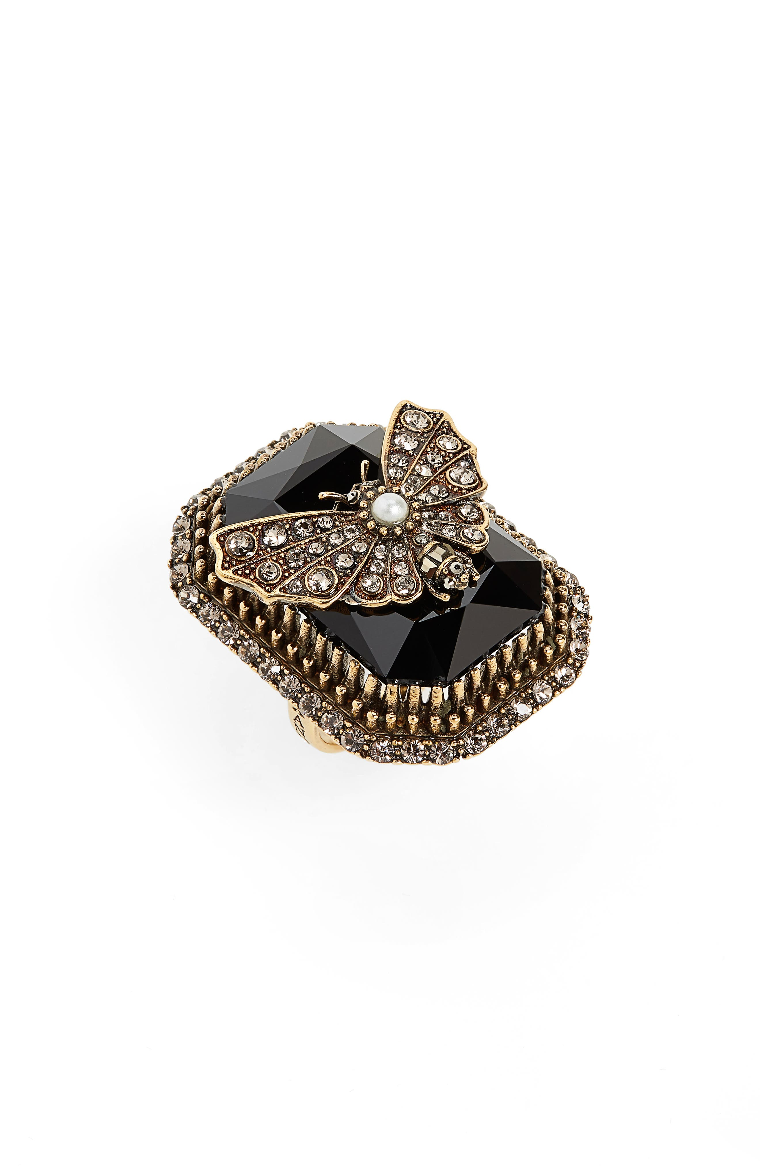 ALEXANDER MCQUEEN Butterfly Cocktail Ring in Gold/ Jet Black