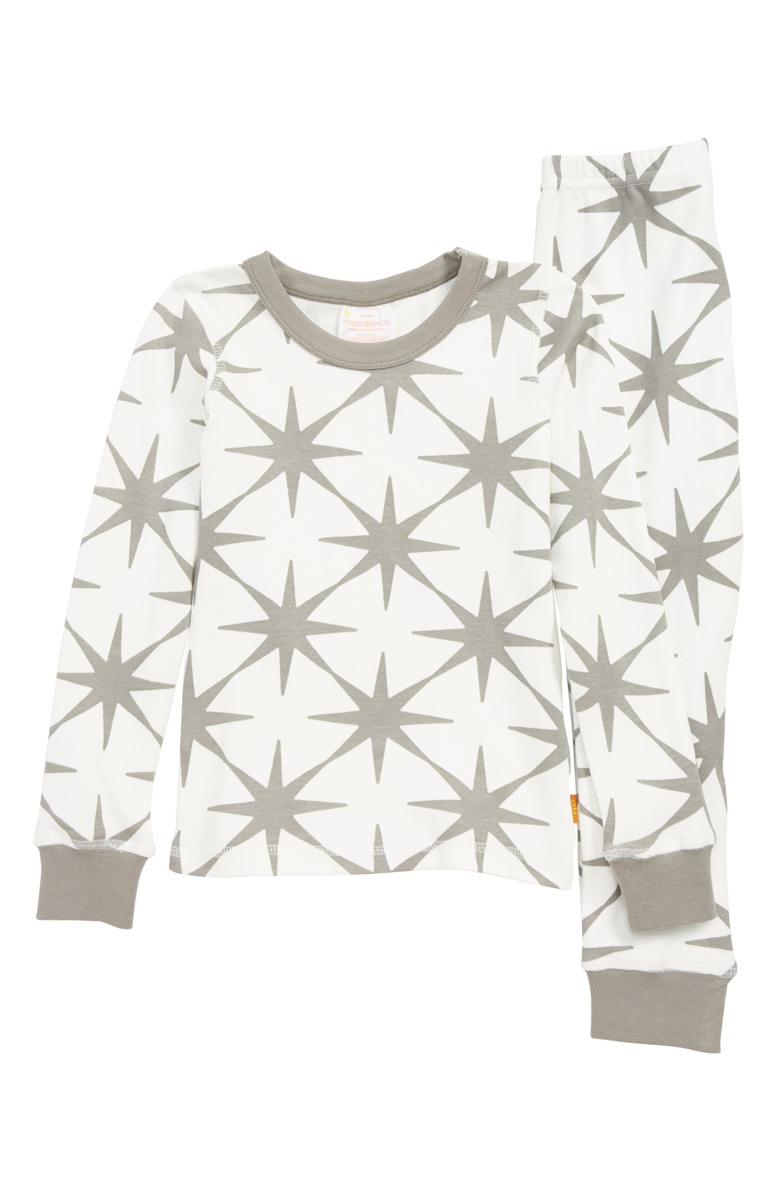 Stars Organic Cotton Fitted Two-Piece Pajamas,                         Main,                         color, GREY