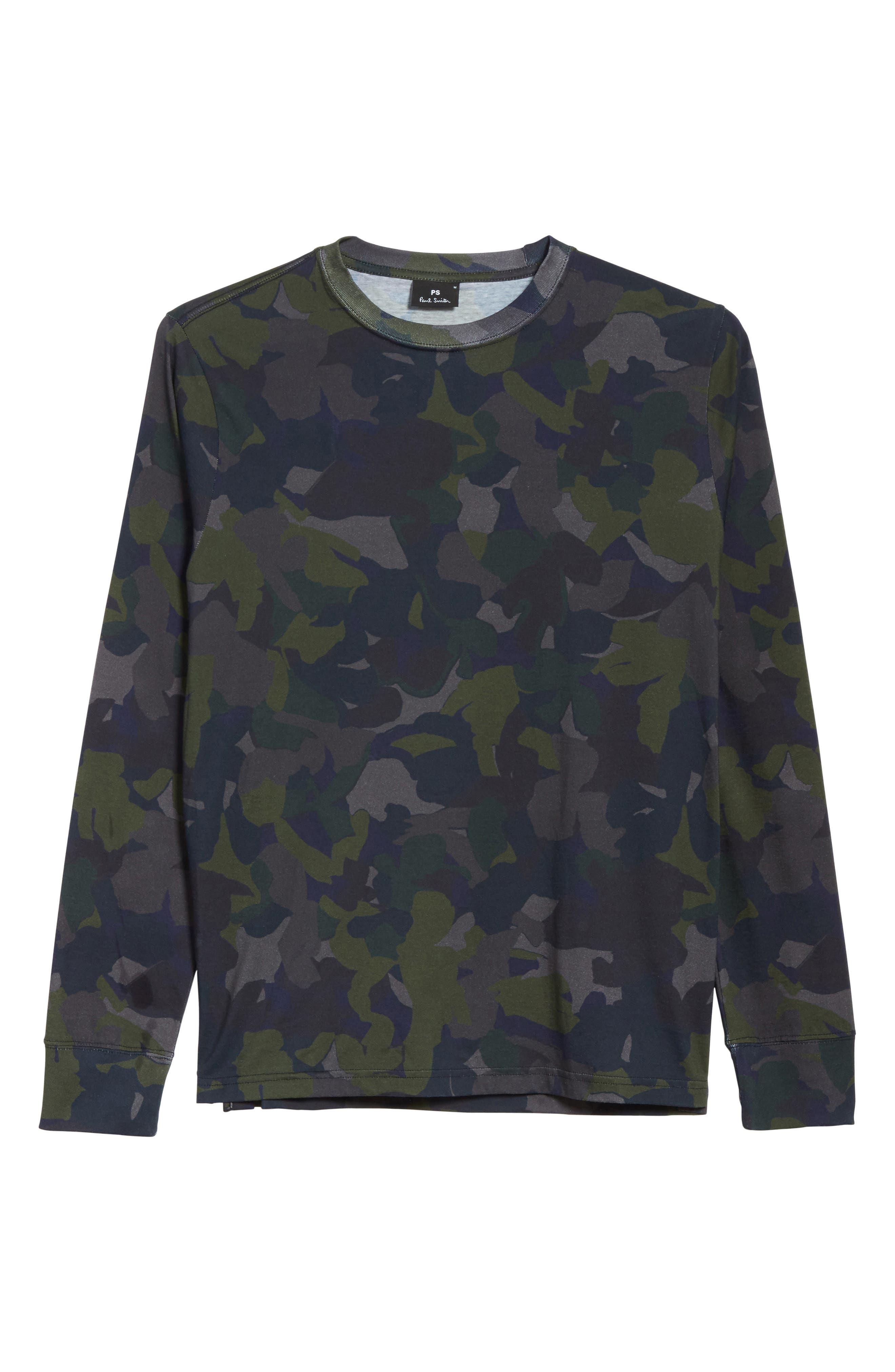 Camo Long Sleeve T-Shirt,                             Alternate thumbnail 6, color,                             410