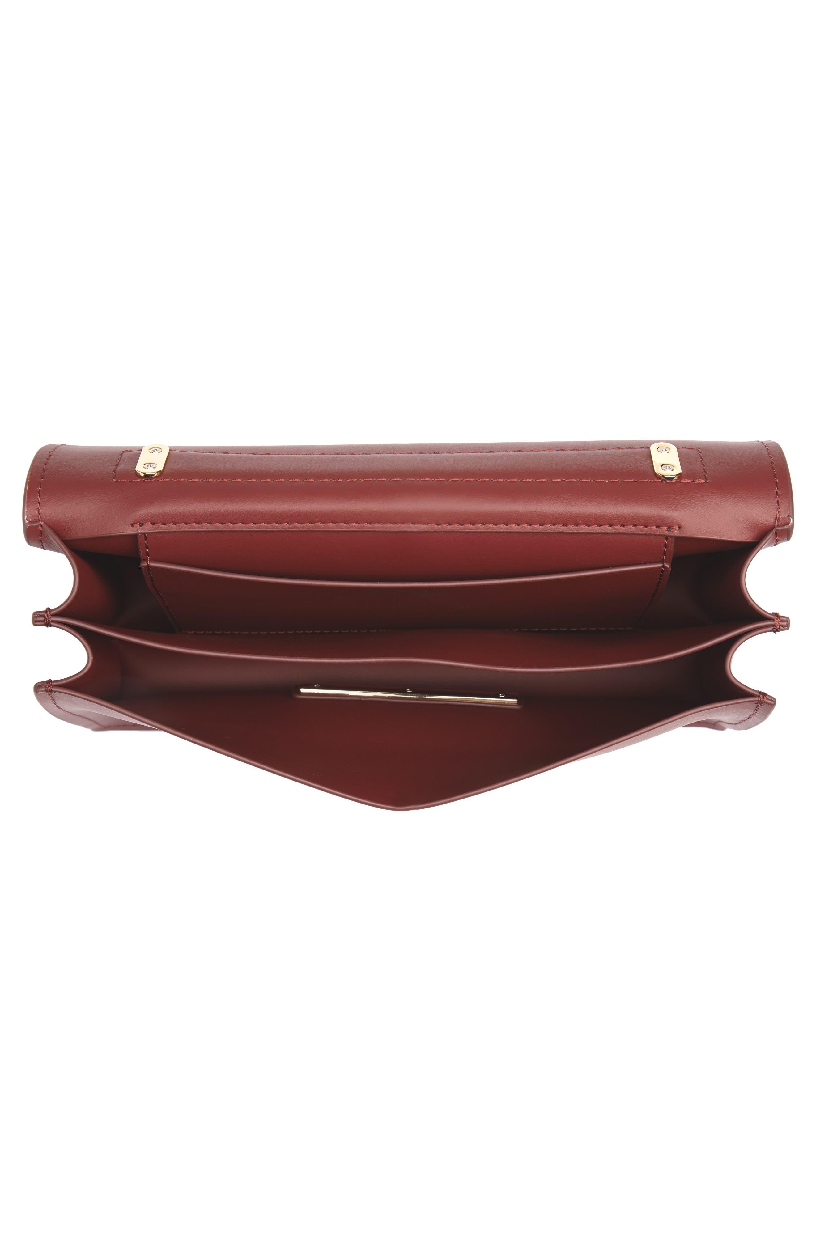 Earthette Leather Accordion Bag,                             Alternate thumbnail 4, color,                             SMOKED MERLOT
