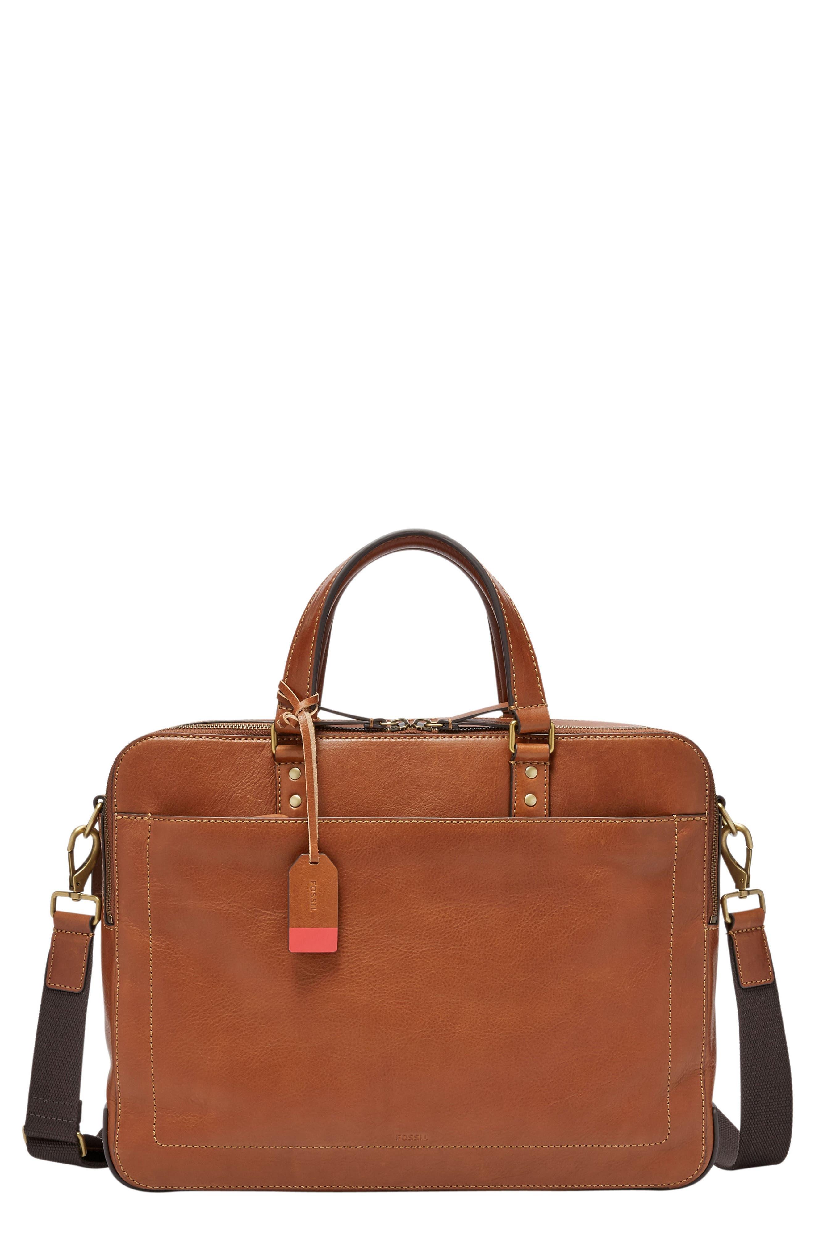 Defender Leather Briefcase,                             Main thumbnail 1, color,                             COGNAC