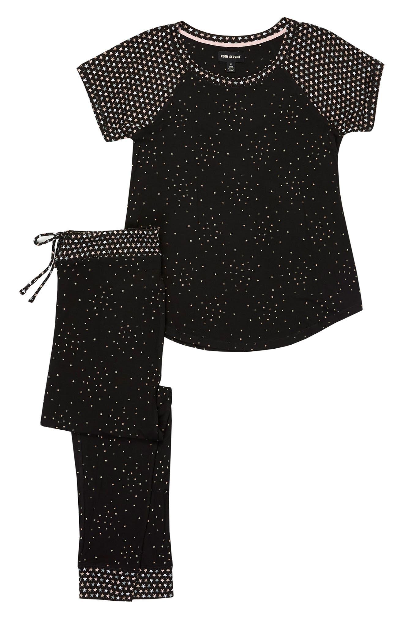 Jersey Pajamas,                             Alternate thumbnail 4, color,                             BLACK PRT
