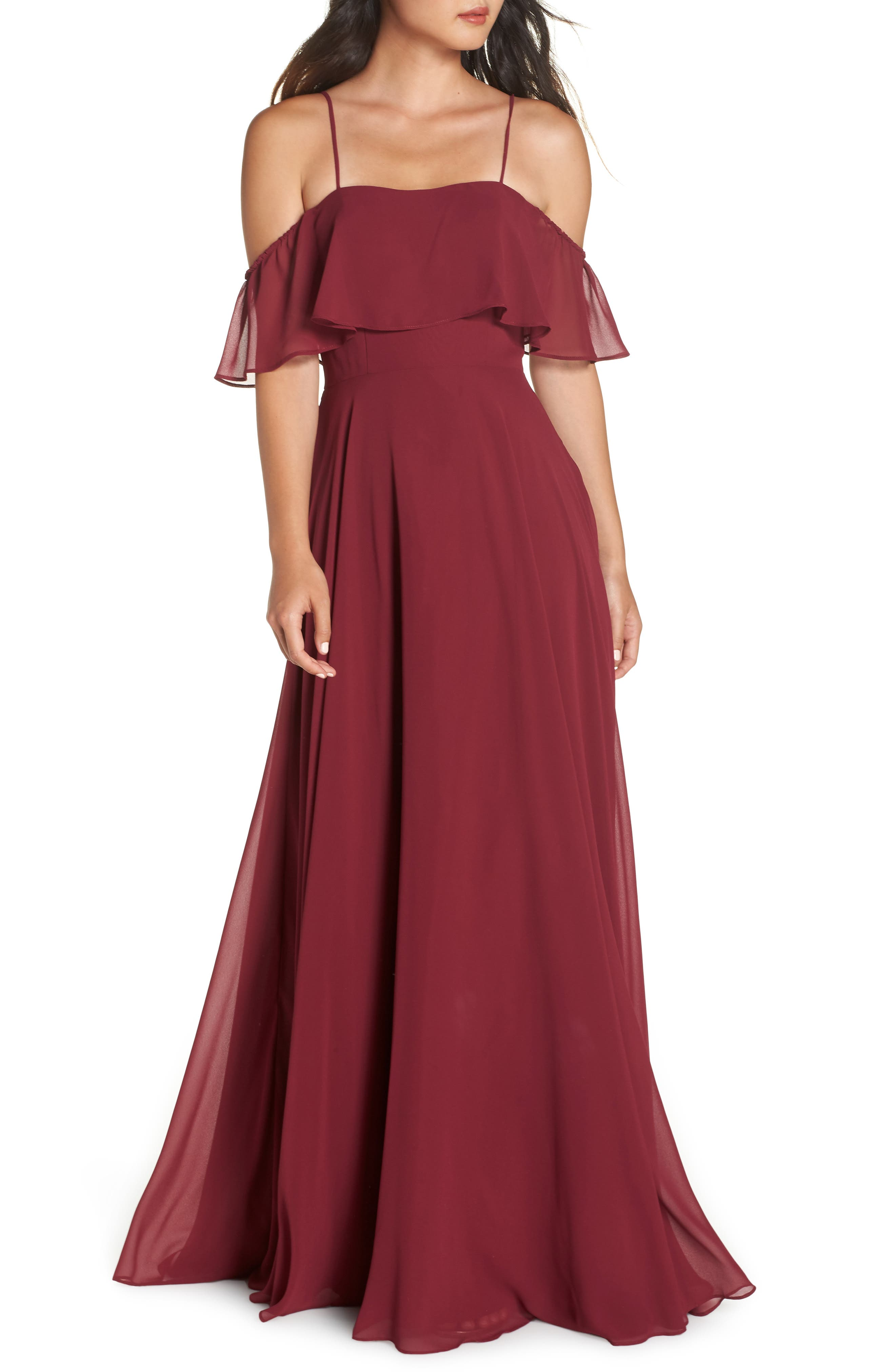 Hayley Paige Occasions Chiffon Cold Shoulder Gown, Burgundy