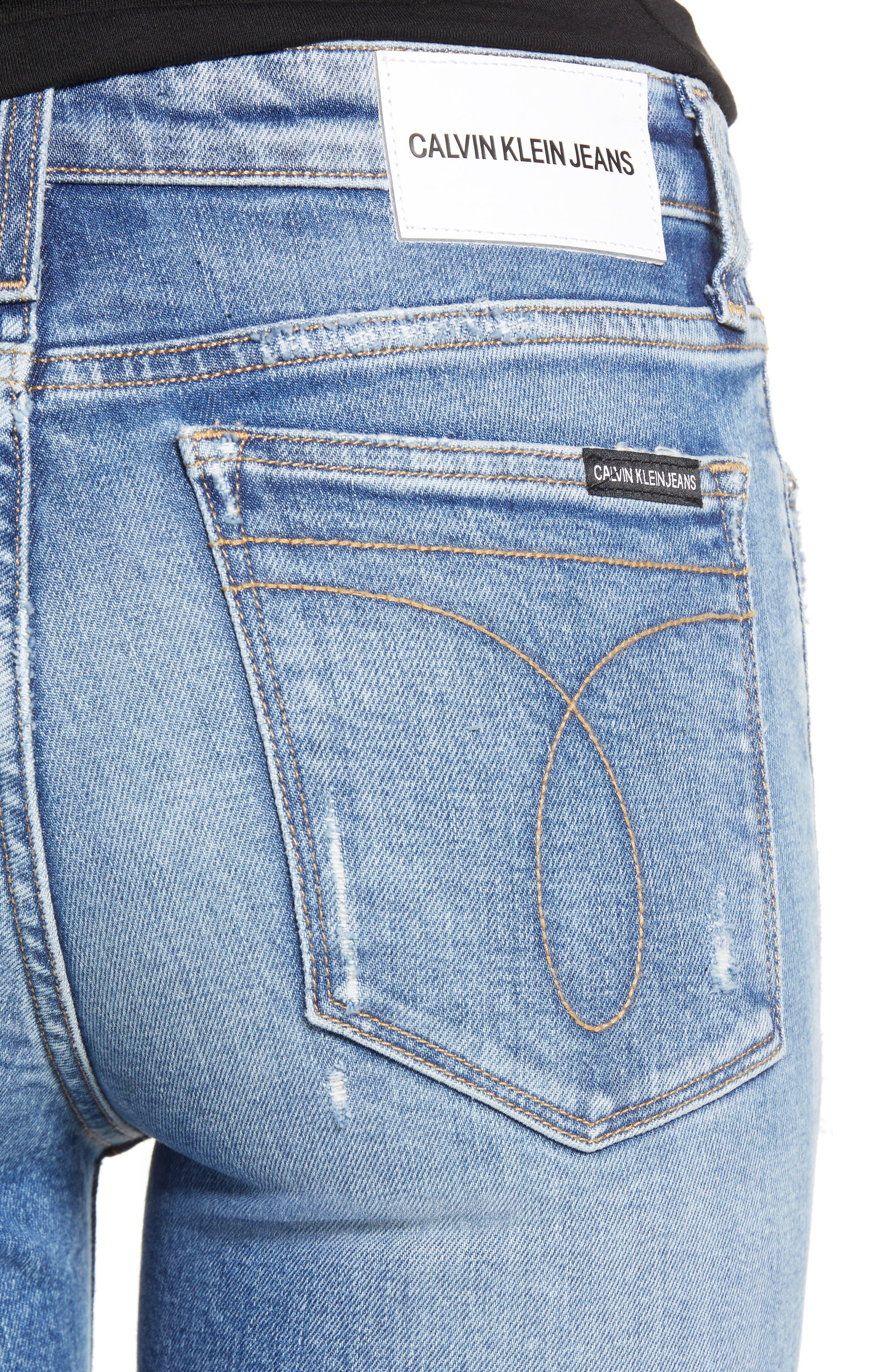 Ankle Skinny Jeans,                             Alternate thumbnail 4, color,                             FORESTER BLUE