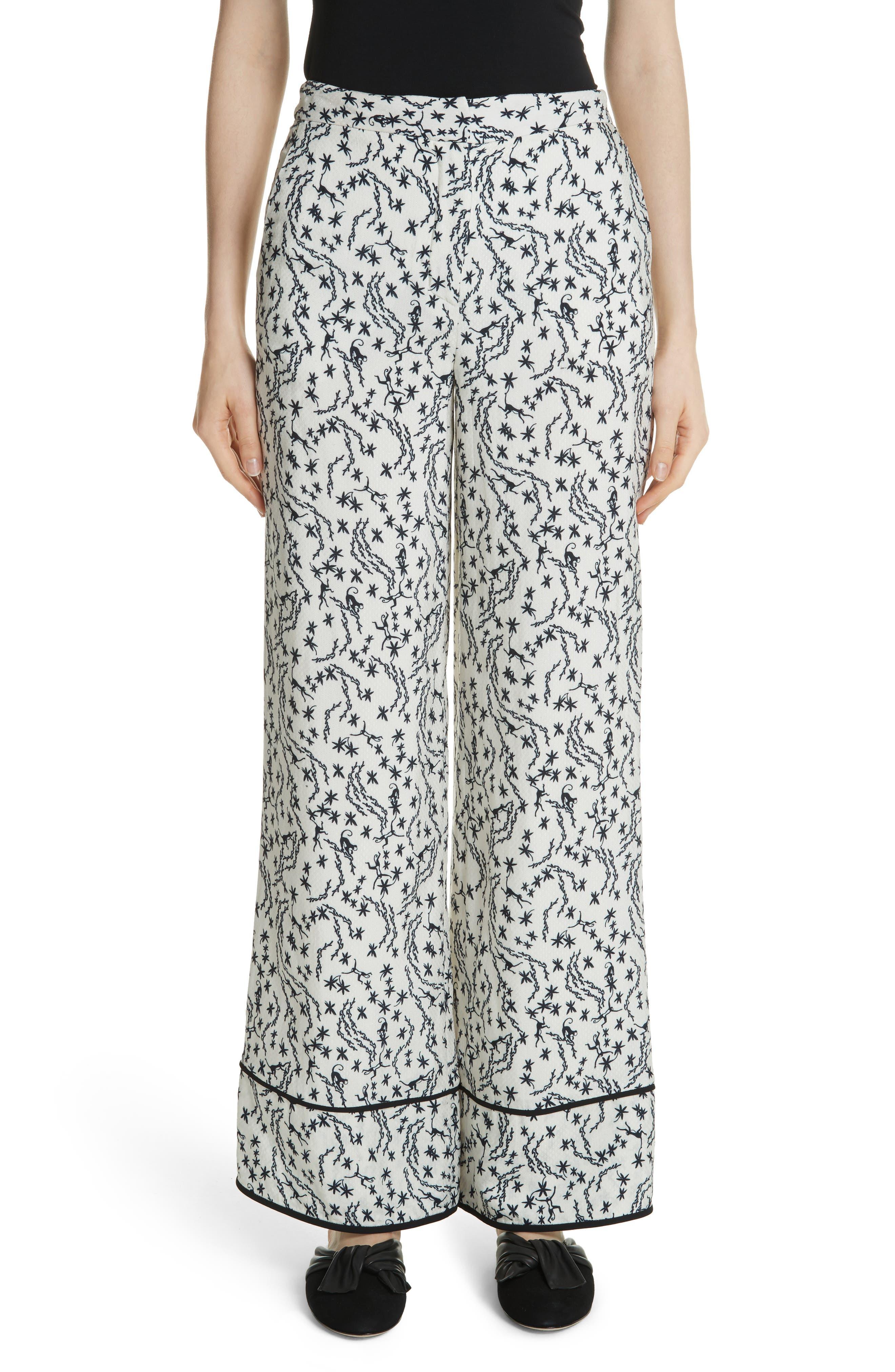 Floral Print Wide Leg Pants,                         Main,                         color, 900