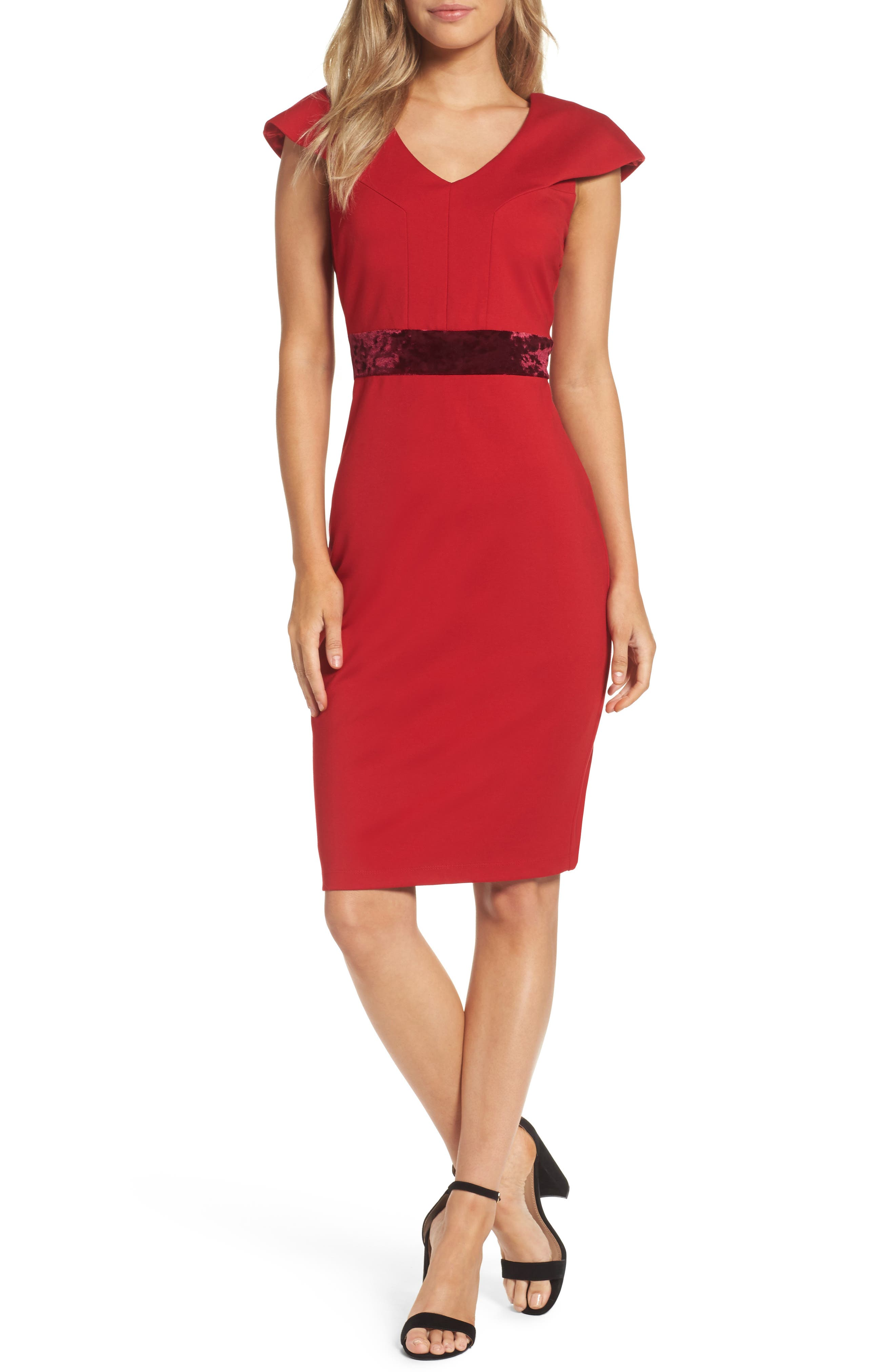Velvet Trim Crepe Sheath Dress,                             Main thumbnail 1, color,