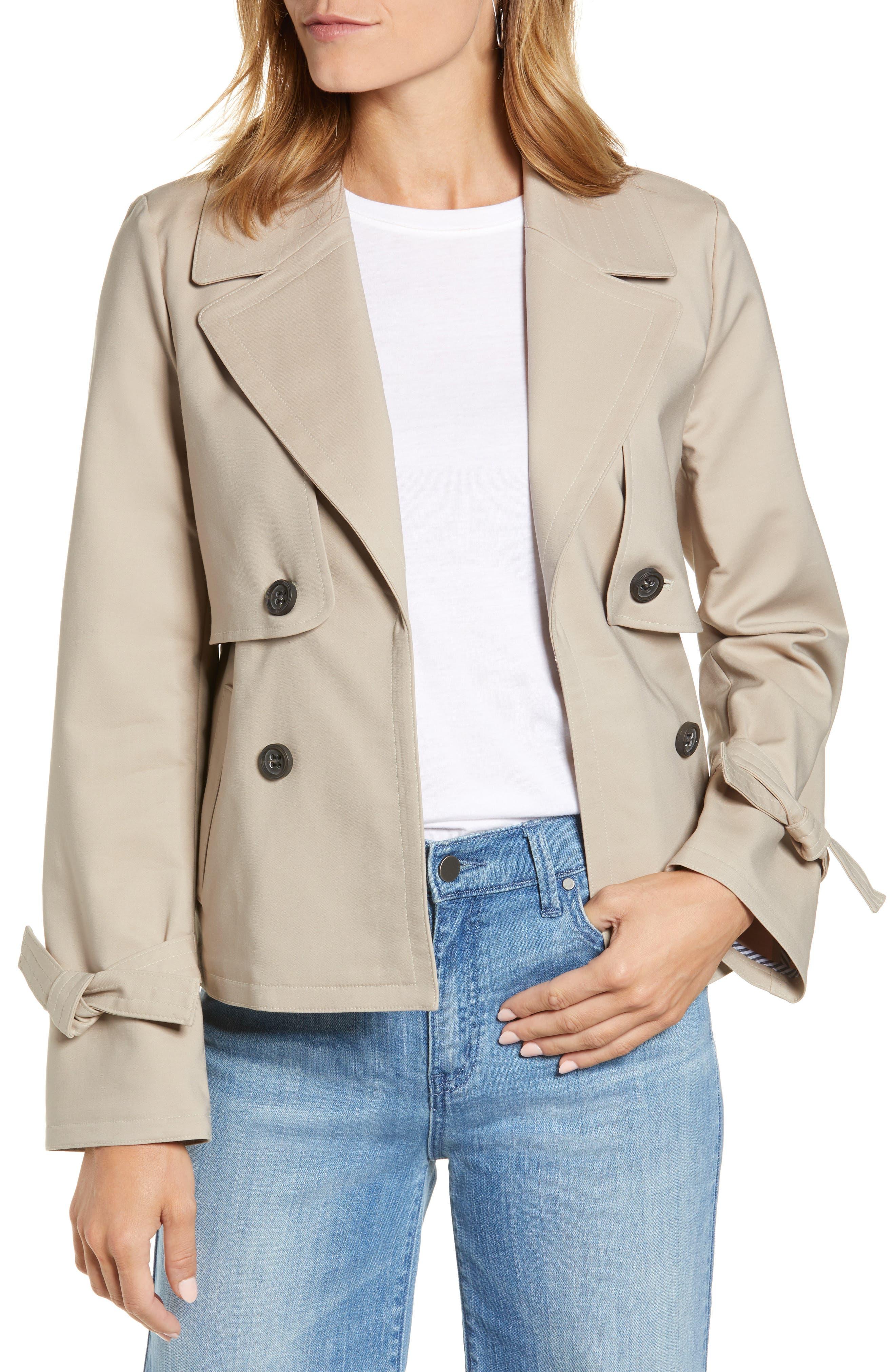 petite short trench coat