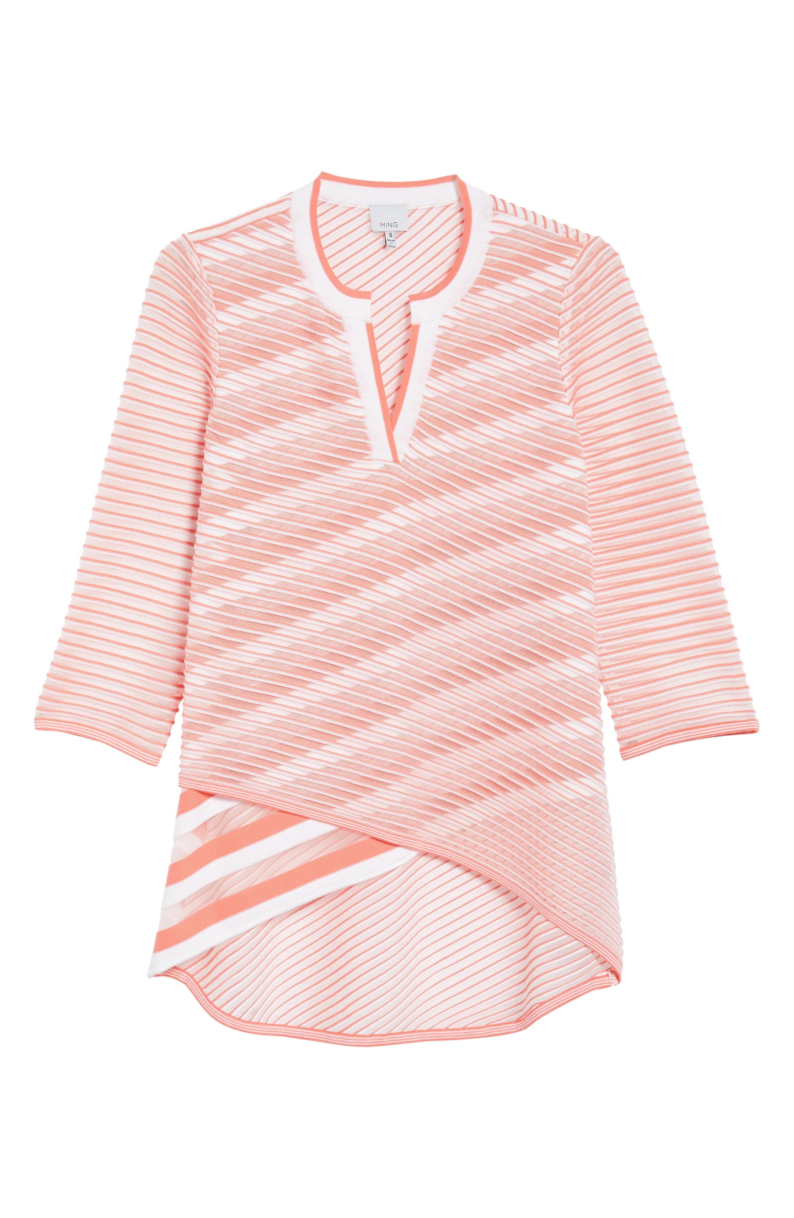 Sheer Stripe Knit Tunic,                             Alternate thumbnail 6, color,                             DAYLILY/ WHITE