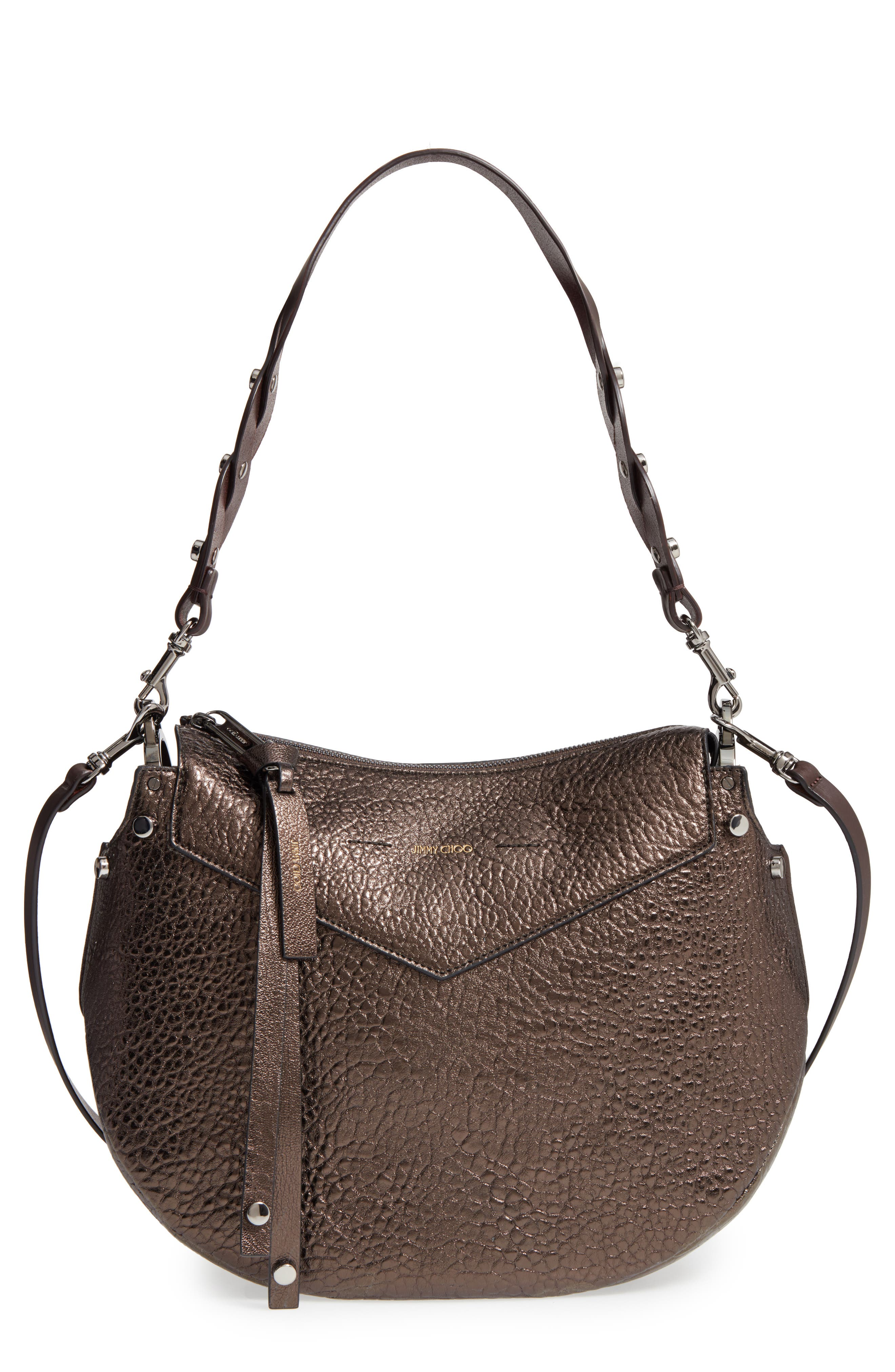 Artie Metallic Leather Hobo Bag,                         Main,                         color, 200