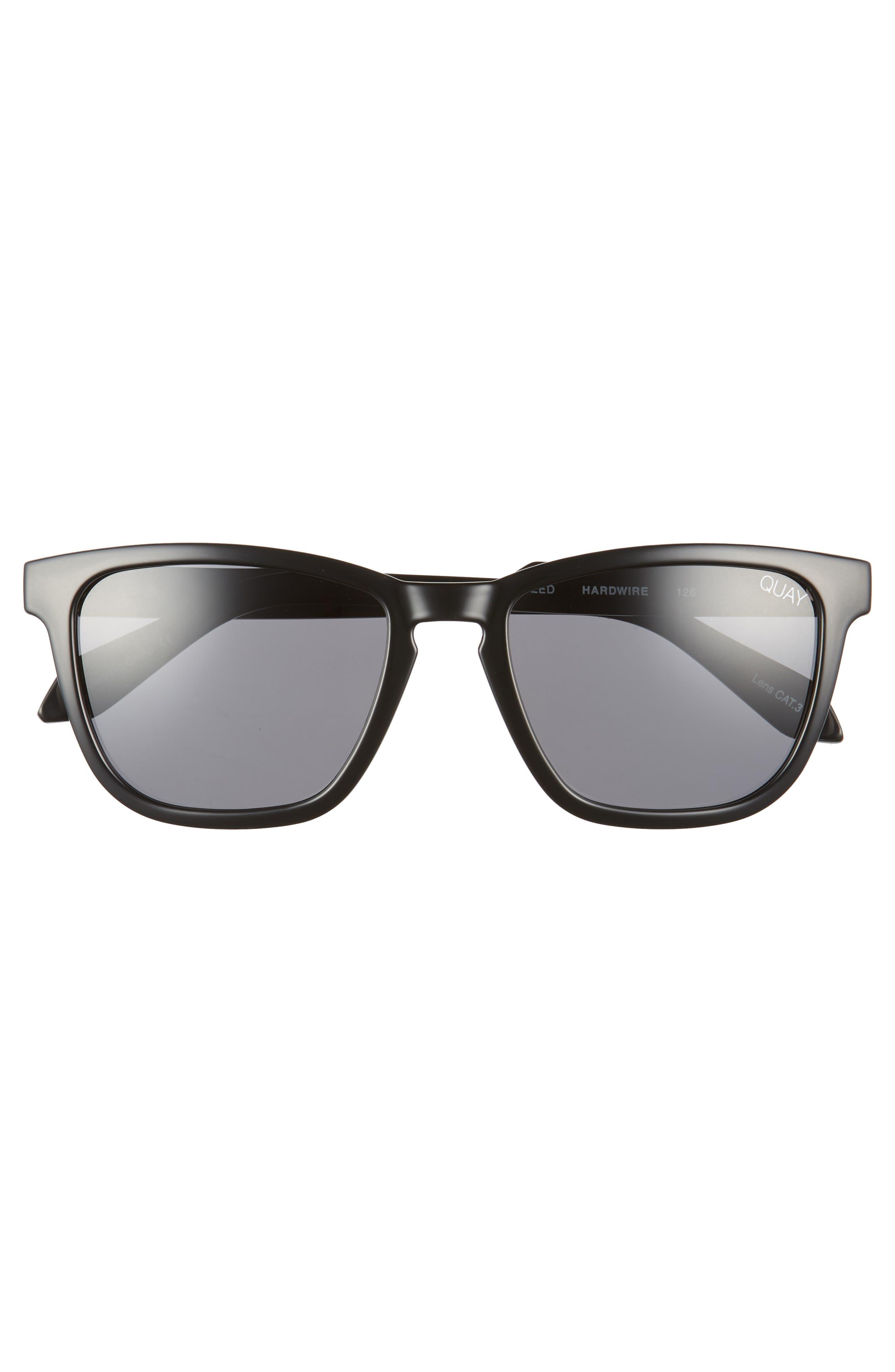 Hardwire 54mm Polarized Sunglasses,                             Alternate thumbnail 3, color,                             BLACK/ SMOKE LENS