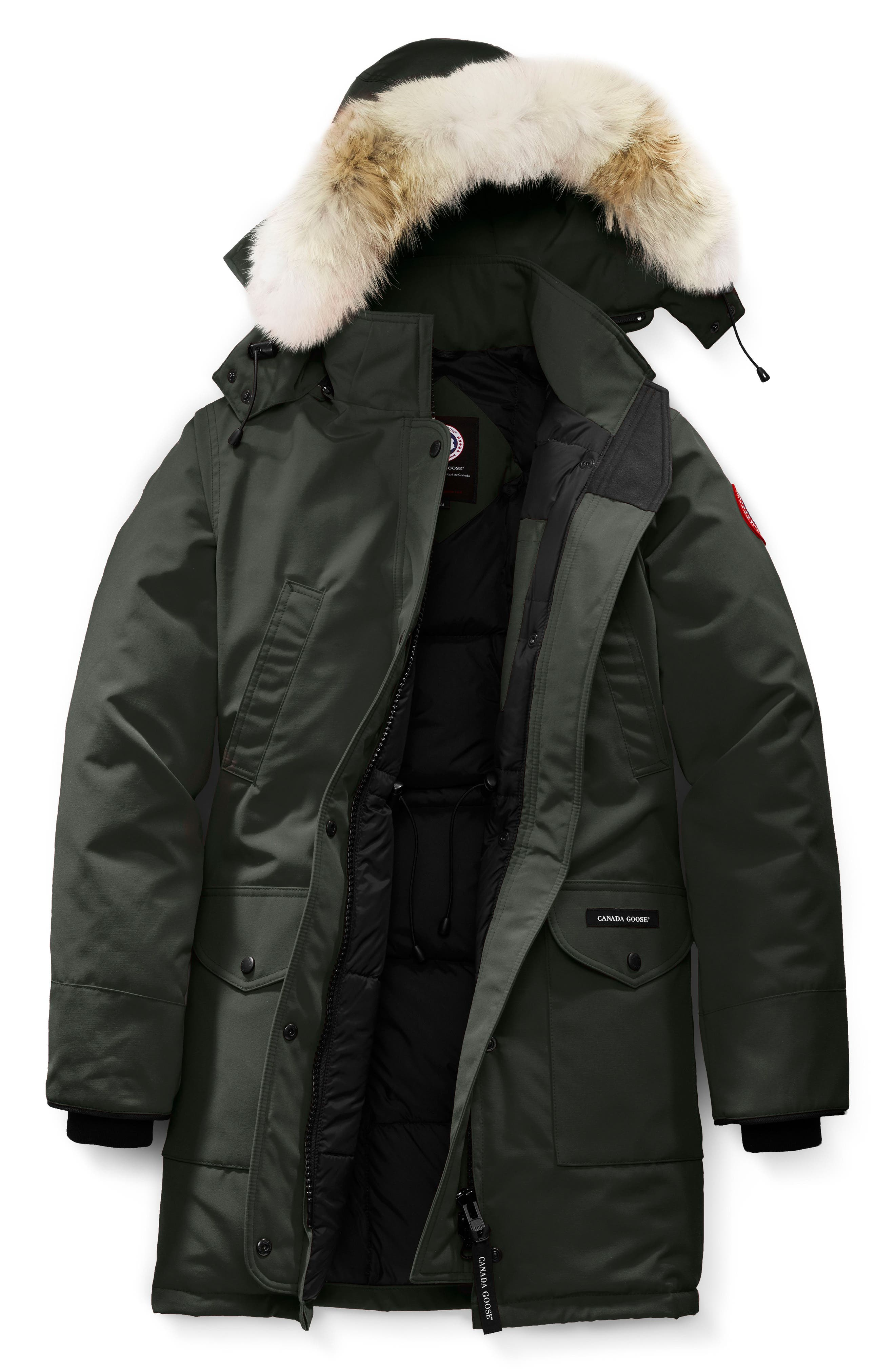 Trillium Fusion Fit Hooded Parka with Genuine Coyote Fur Trim,                             Alternate thumbnail 4, color,                             VOLCANO