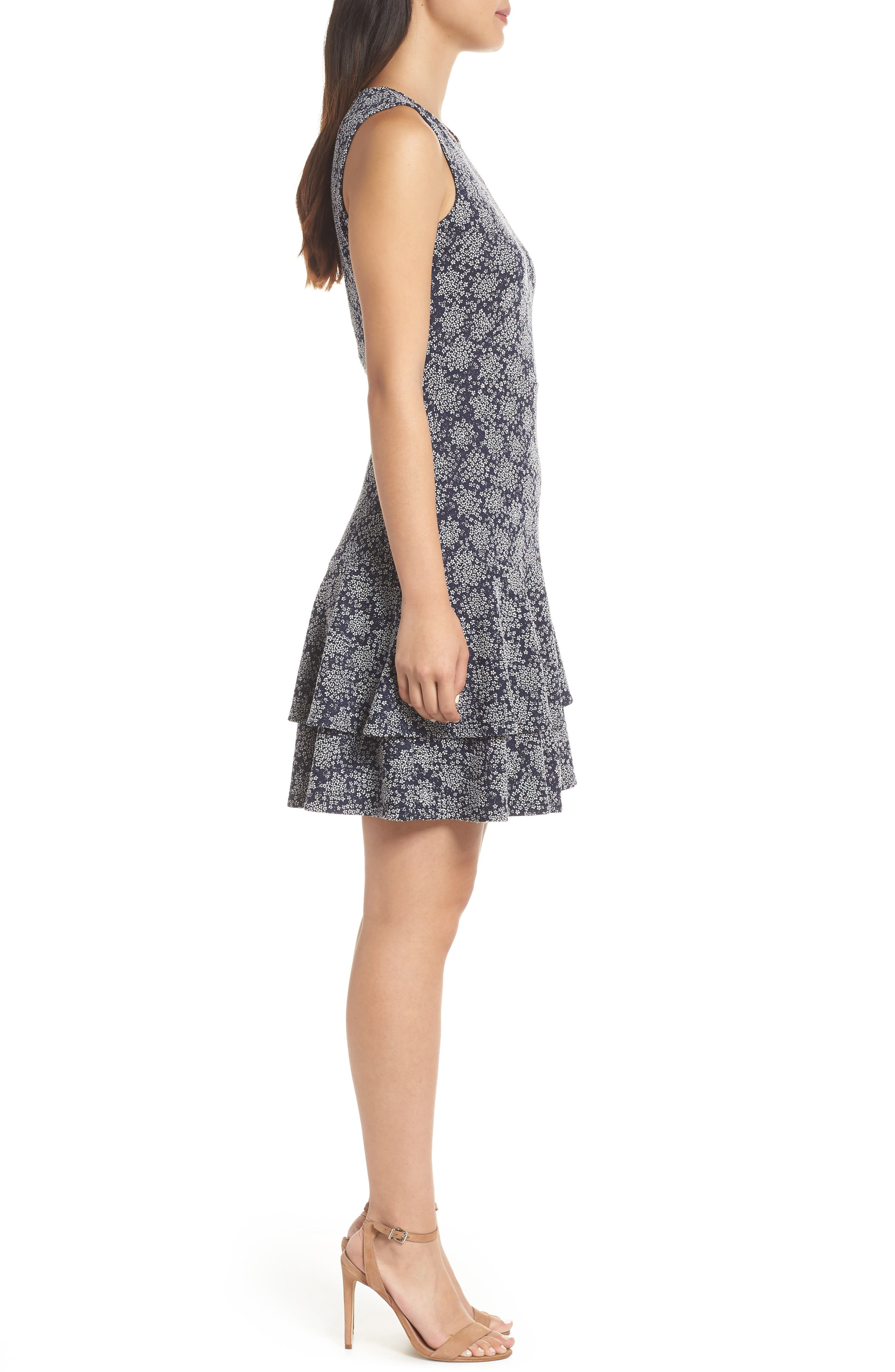 Tiered Fit & Flare Dress,                             Alternate thumbnail 3, color,                             TRUE NAVY/ WHITE