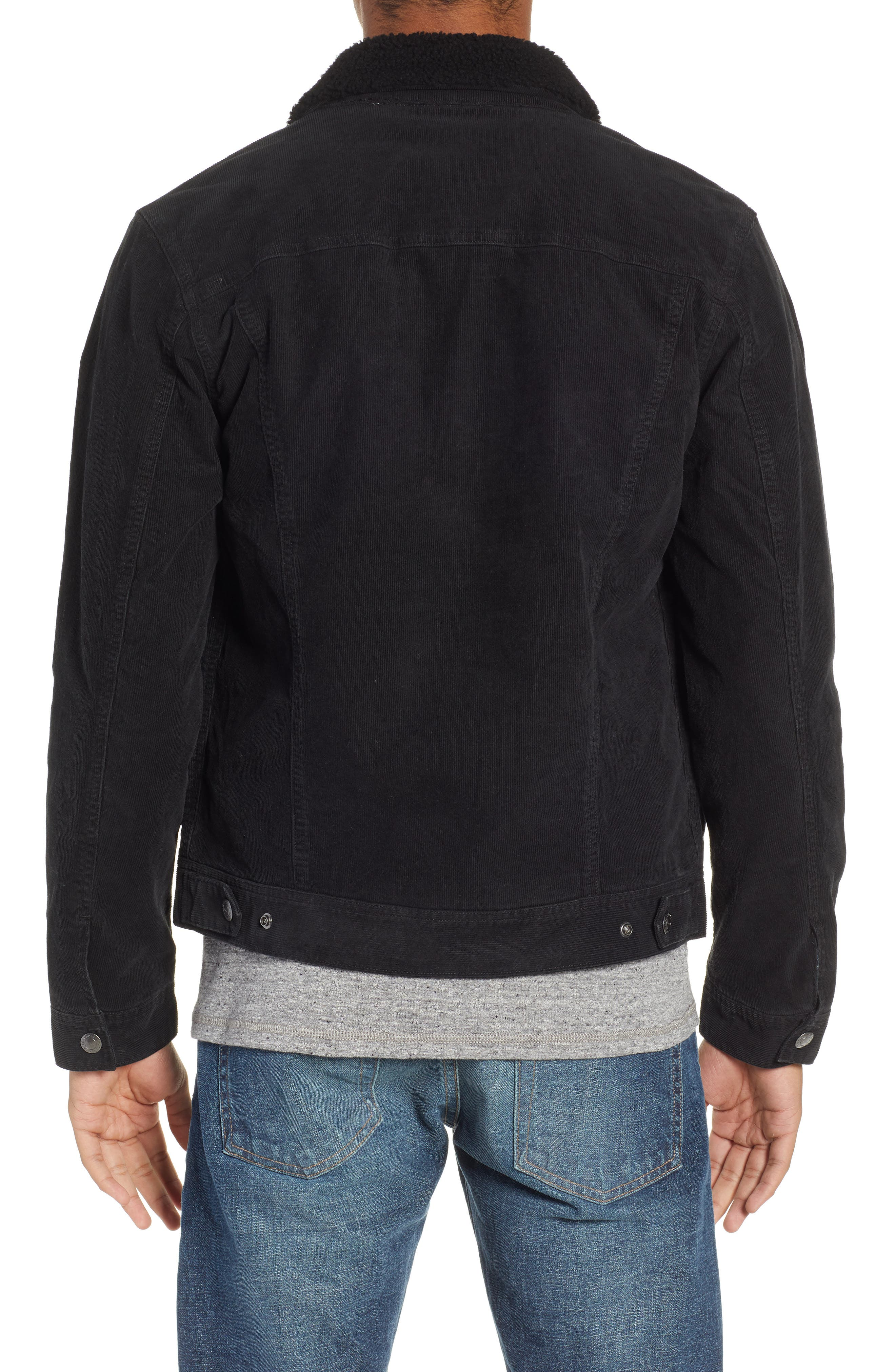 The Dart Corduroy Jacket with Genuine Shearling Collar,                             Alternate thumbnail 2, color,                             SULFUR BLACK