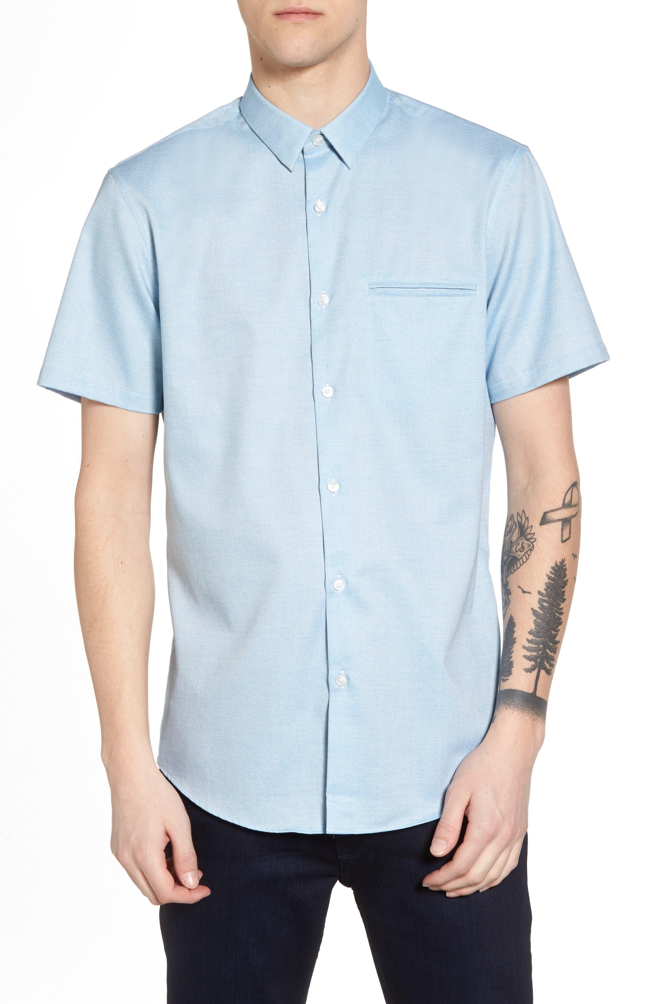 Trim Fit Jaspé Short Sleeve Sport Shirt,                             Main thumbnail 2, color,