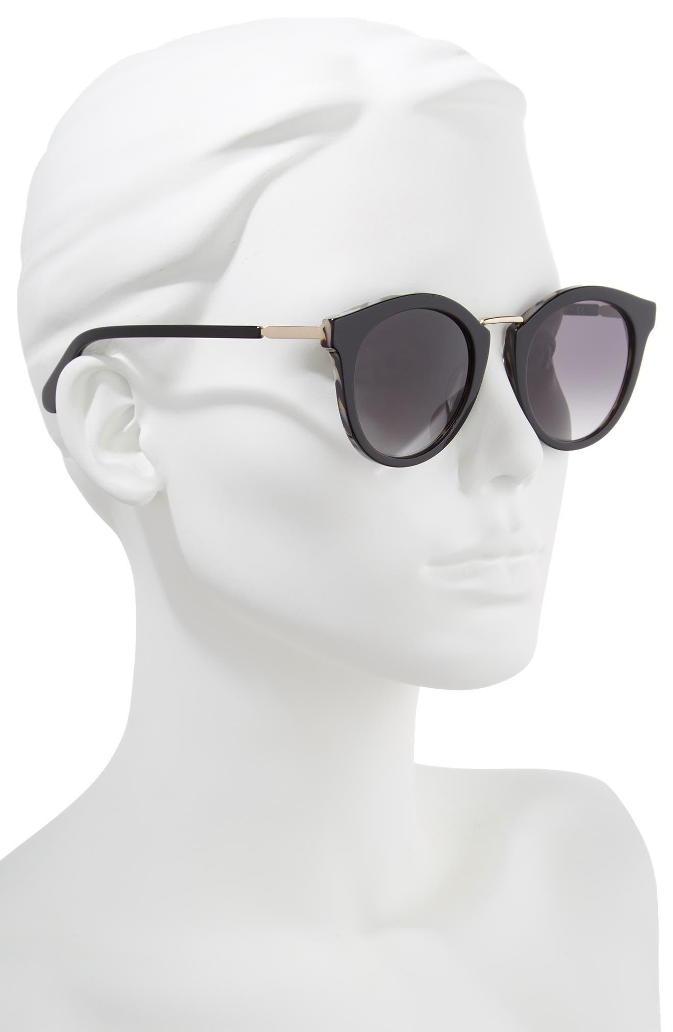 joylyn 50mm round sunglasses,                             Alternate thumbnail 2, color,                             BLACK HAVANA