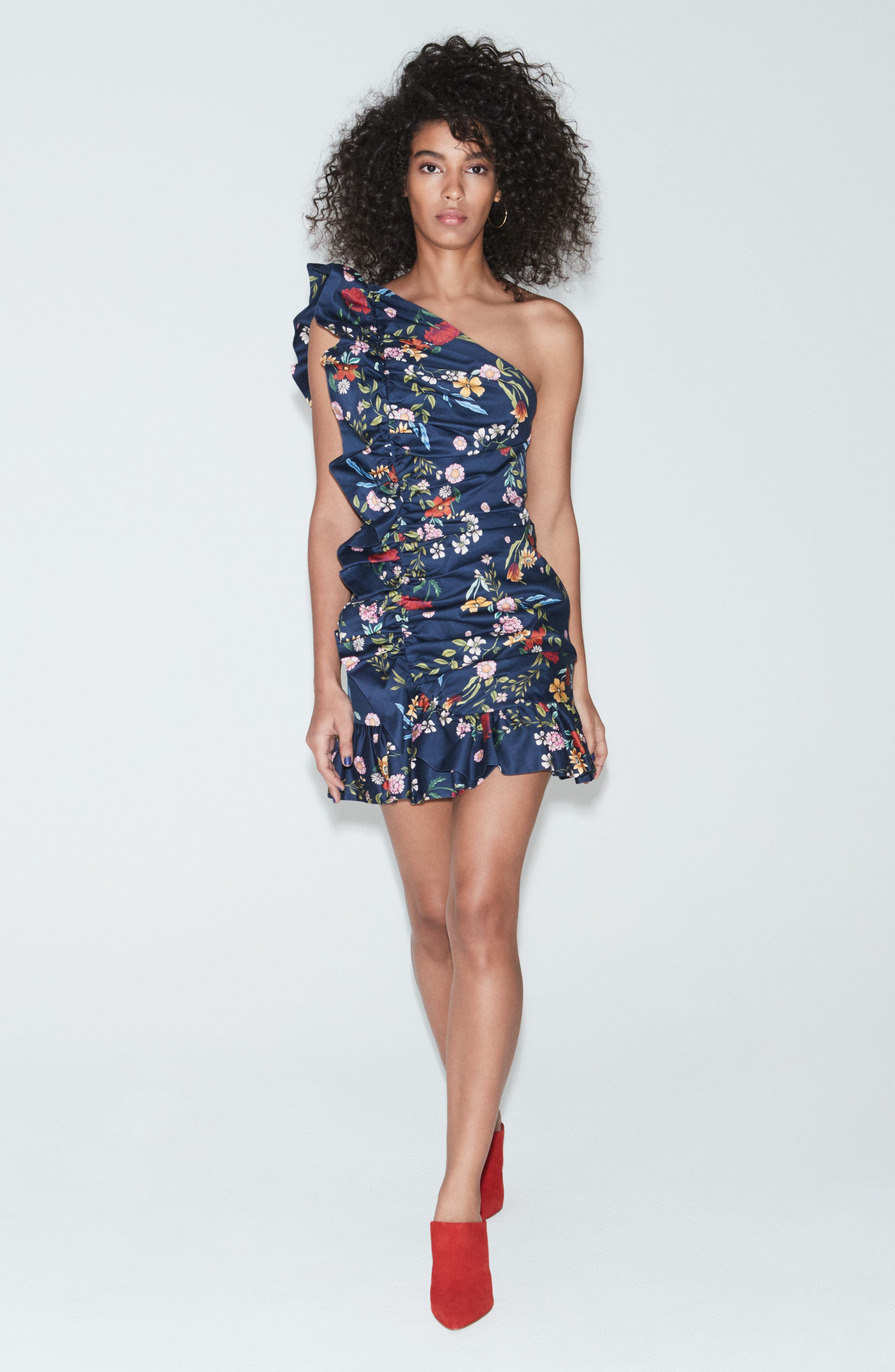 C/MEO No Matter One-Shoulder Ruffle Minidress,                             Alternate thumbnail 10, color,                             NAVY FLORAL