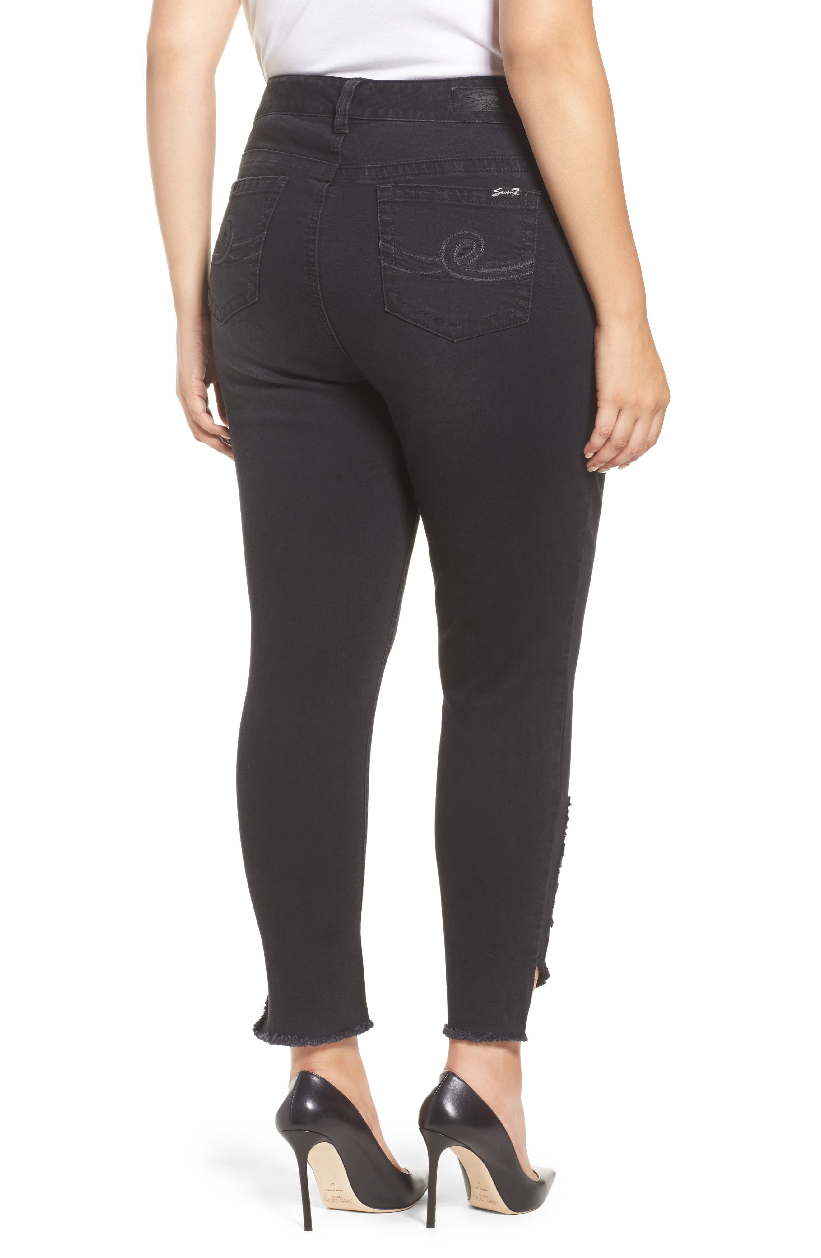 SEVEN7,                             Distressed Slant Raw Hem Skinny Jeans,                             Alternate thumbnail 2, color,                             001