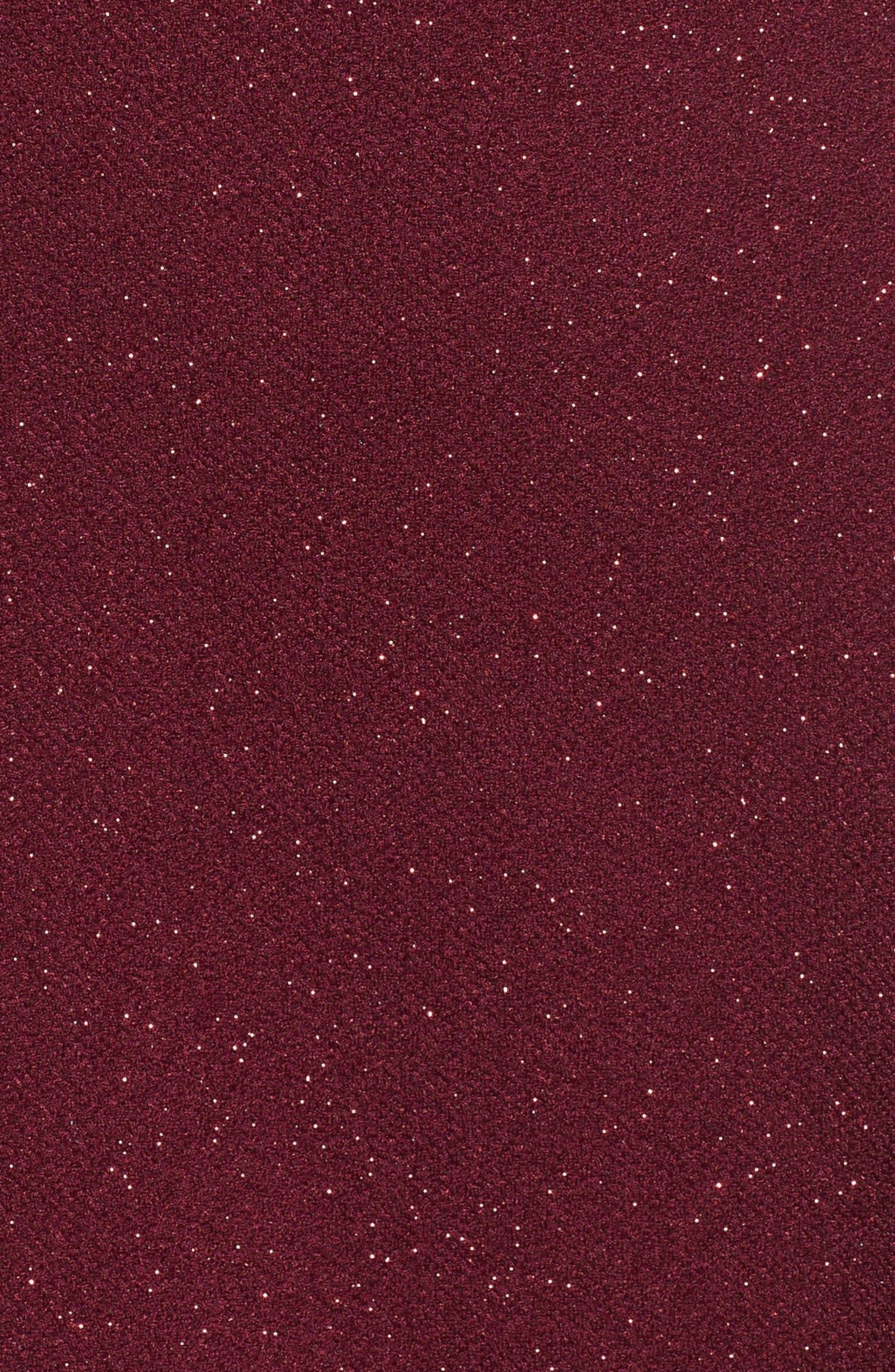 Glitter Off the Shoulder Dress,                             Alternate thumbnail 6, color,                             BURGUNDY
