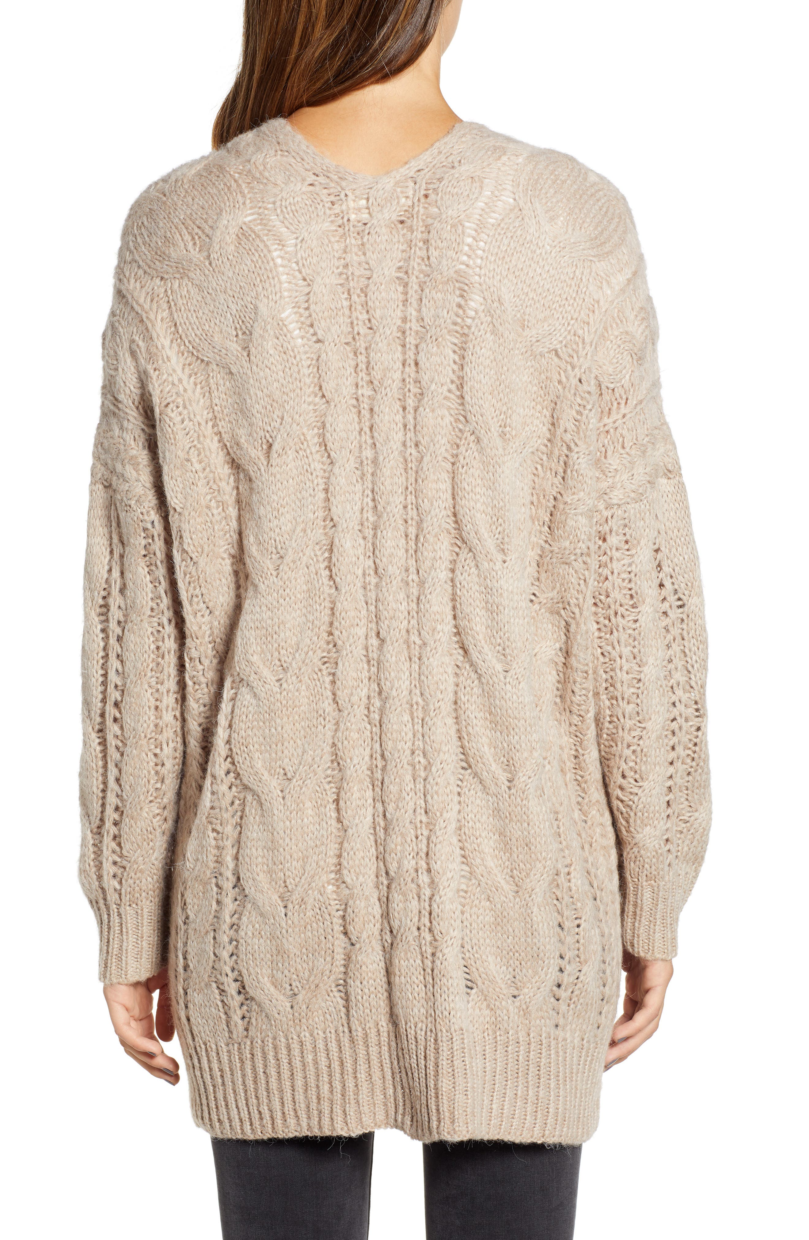 Chunky Cable Knit Cardigan,                             Alternate thumbnail 2, color,                             TAUPE