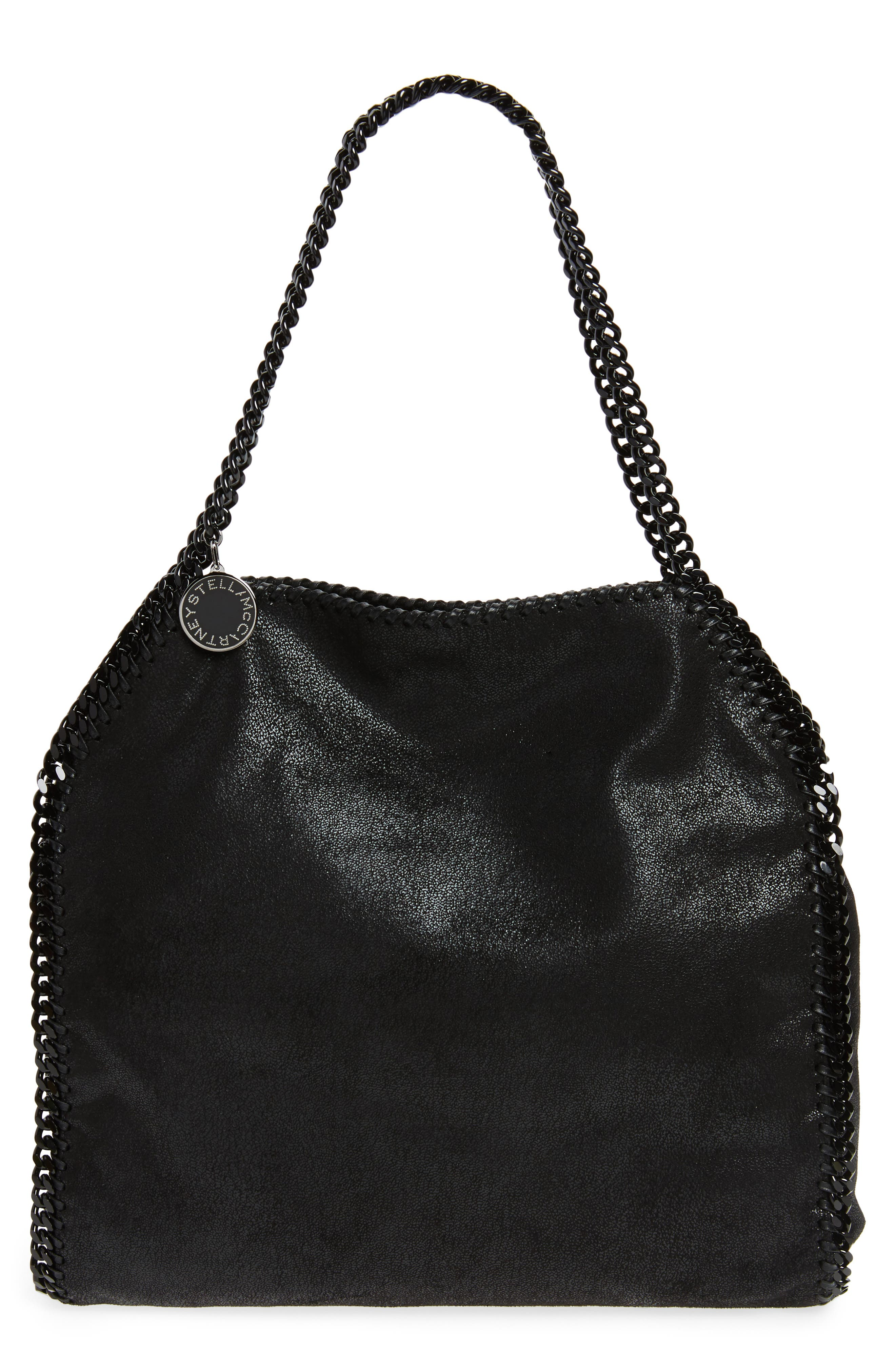 Small Falabella Shaggy Deer Faux Leather Tote,                             Main thumbnail 1, color,                             BLACK OUT