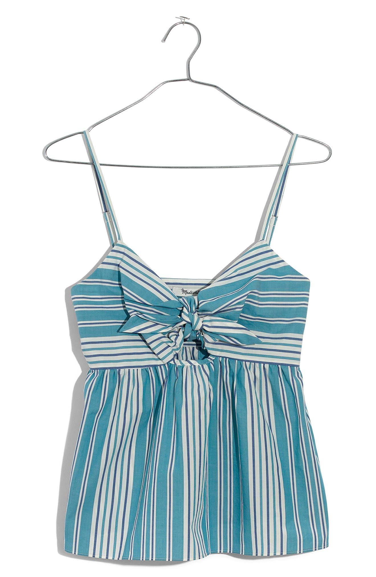 Stripe Tie Front Keyhole Camisole,                             Alternate thumbnail 4, color,                             400